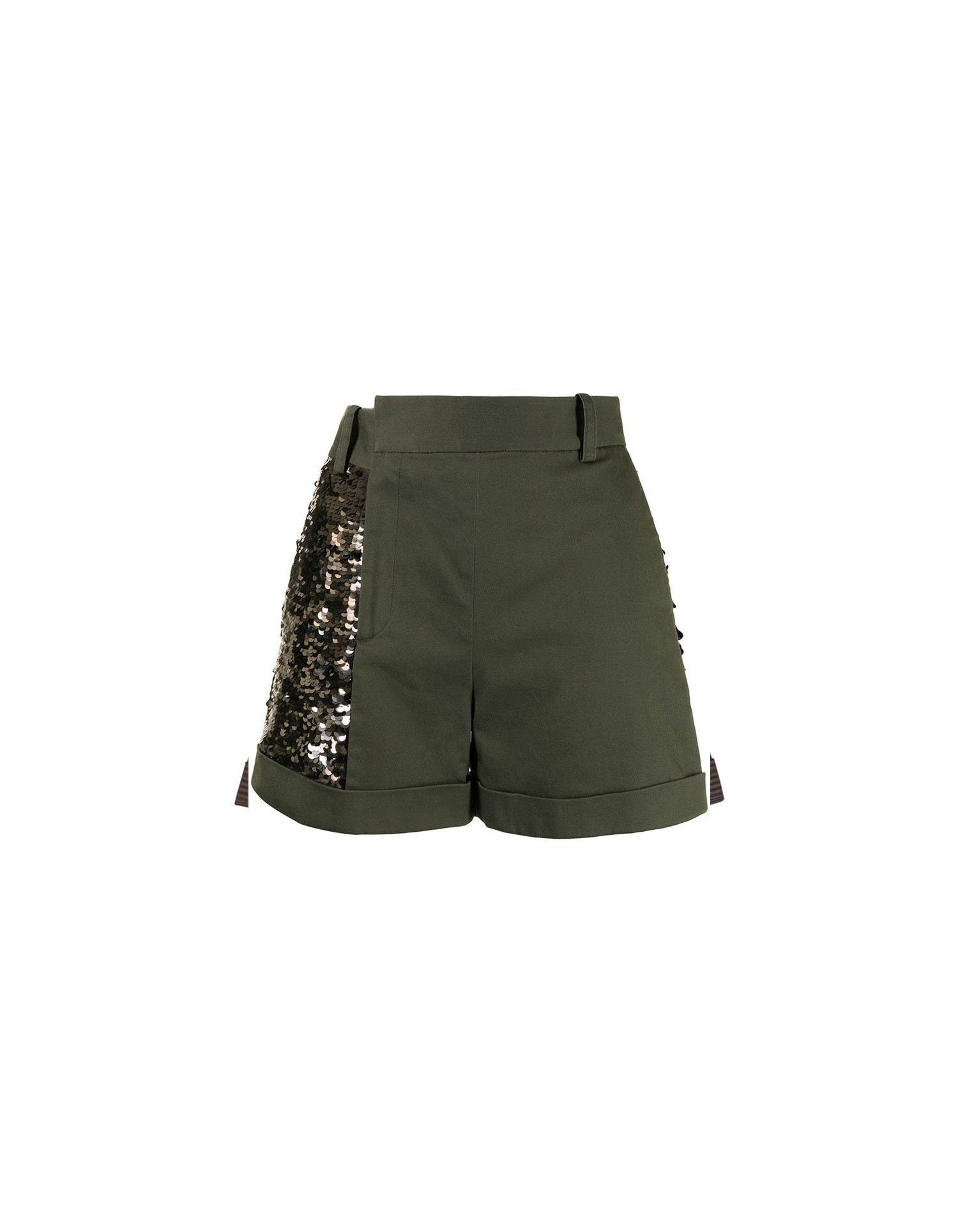 MONSE Sequined Trouser Short in Olive and Taupe Flat Front