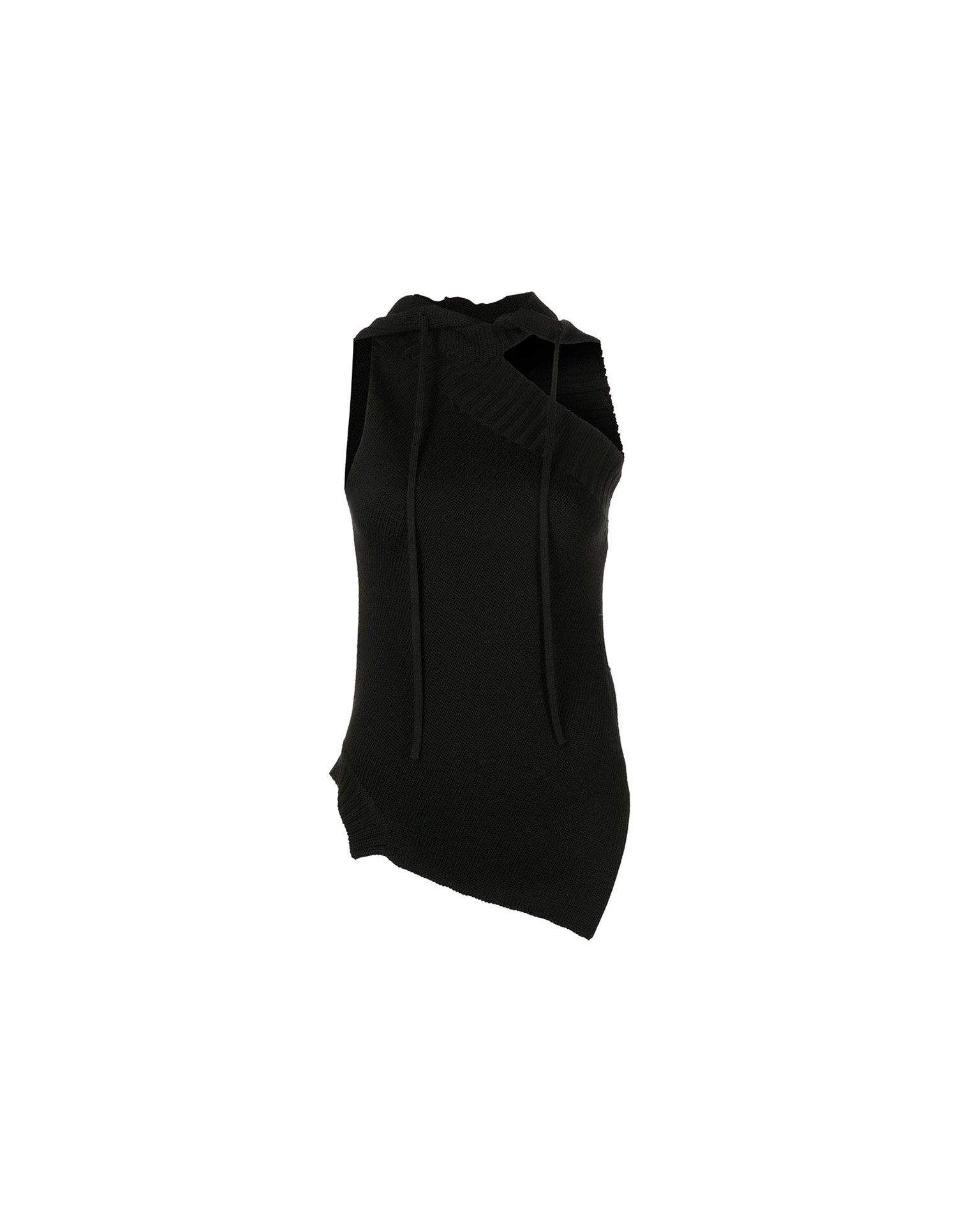 MONSE Sleeveless Hoodie Knit Top in Black on Model Front Side View