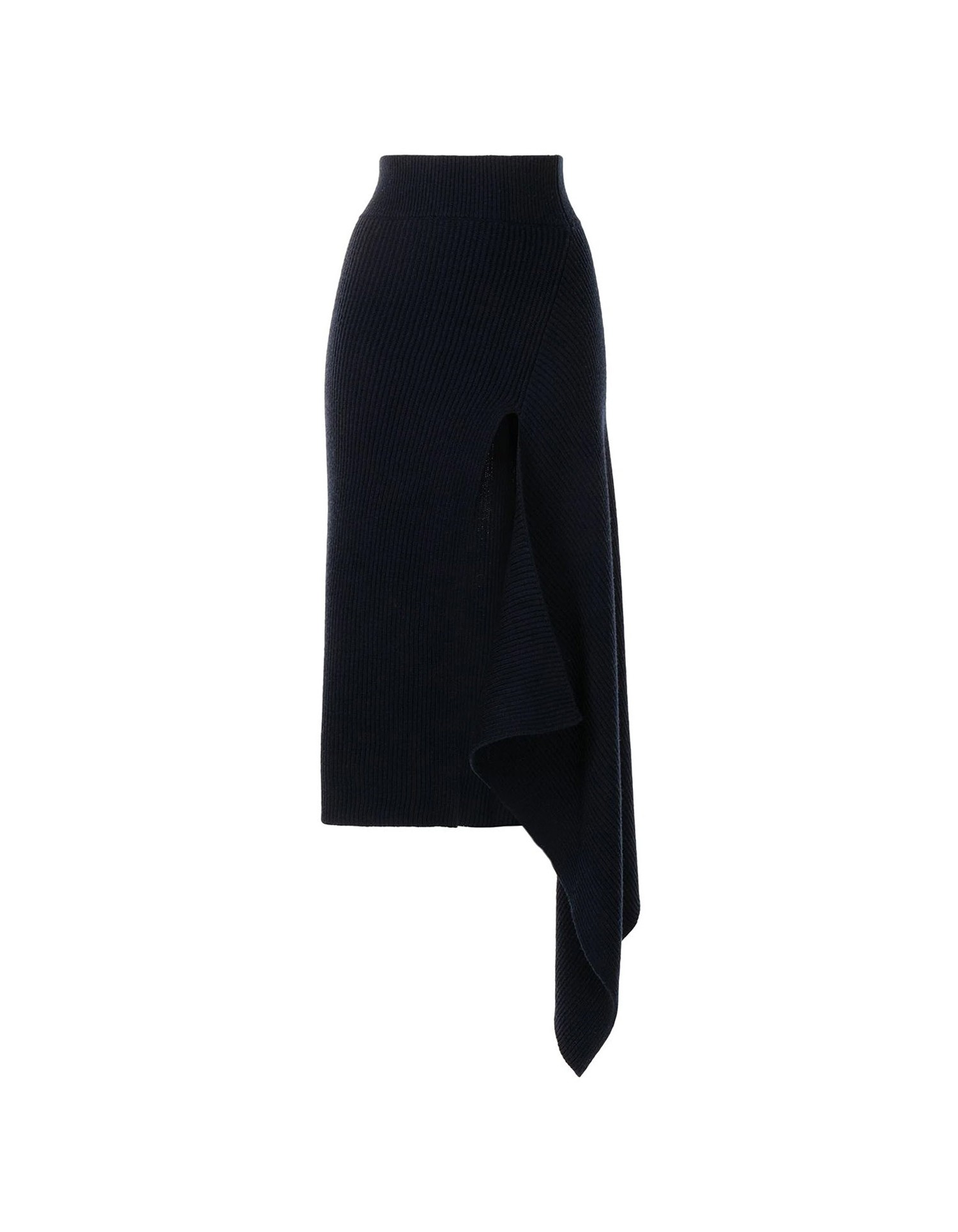 MONSE Sliced Ribbed Knit Skirt in Black Flat Front