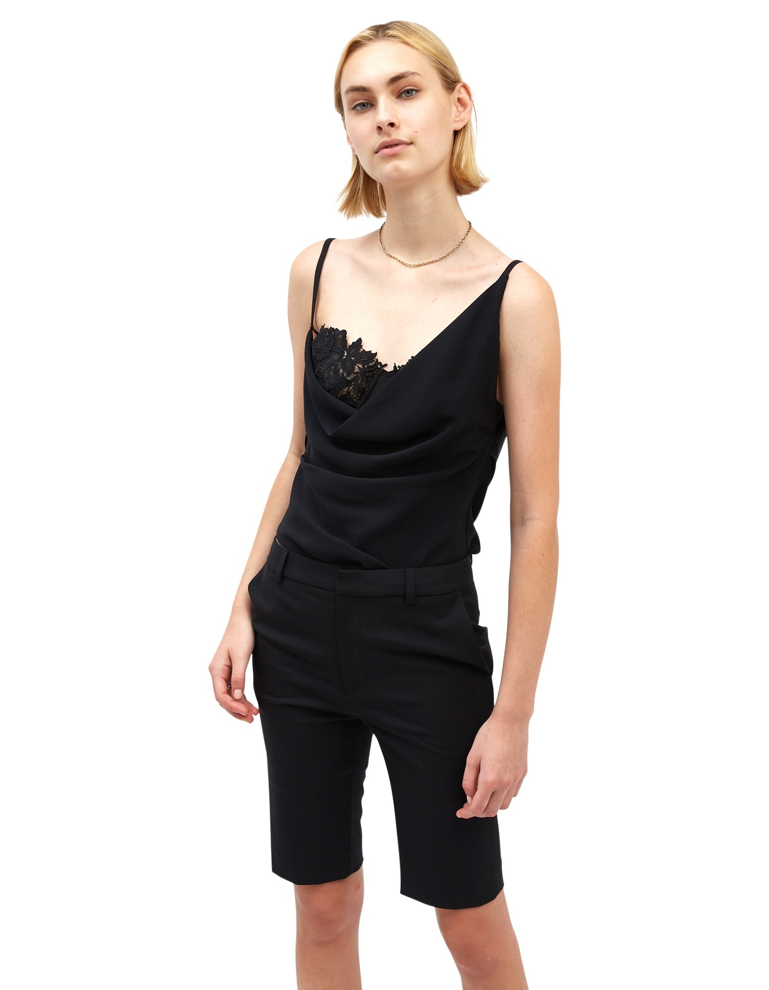 MONSE Slipped Camisole in Black on Model Front View