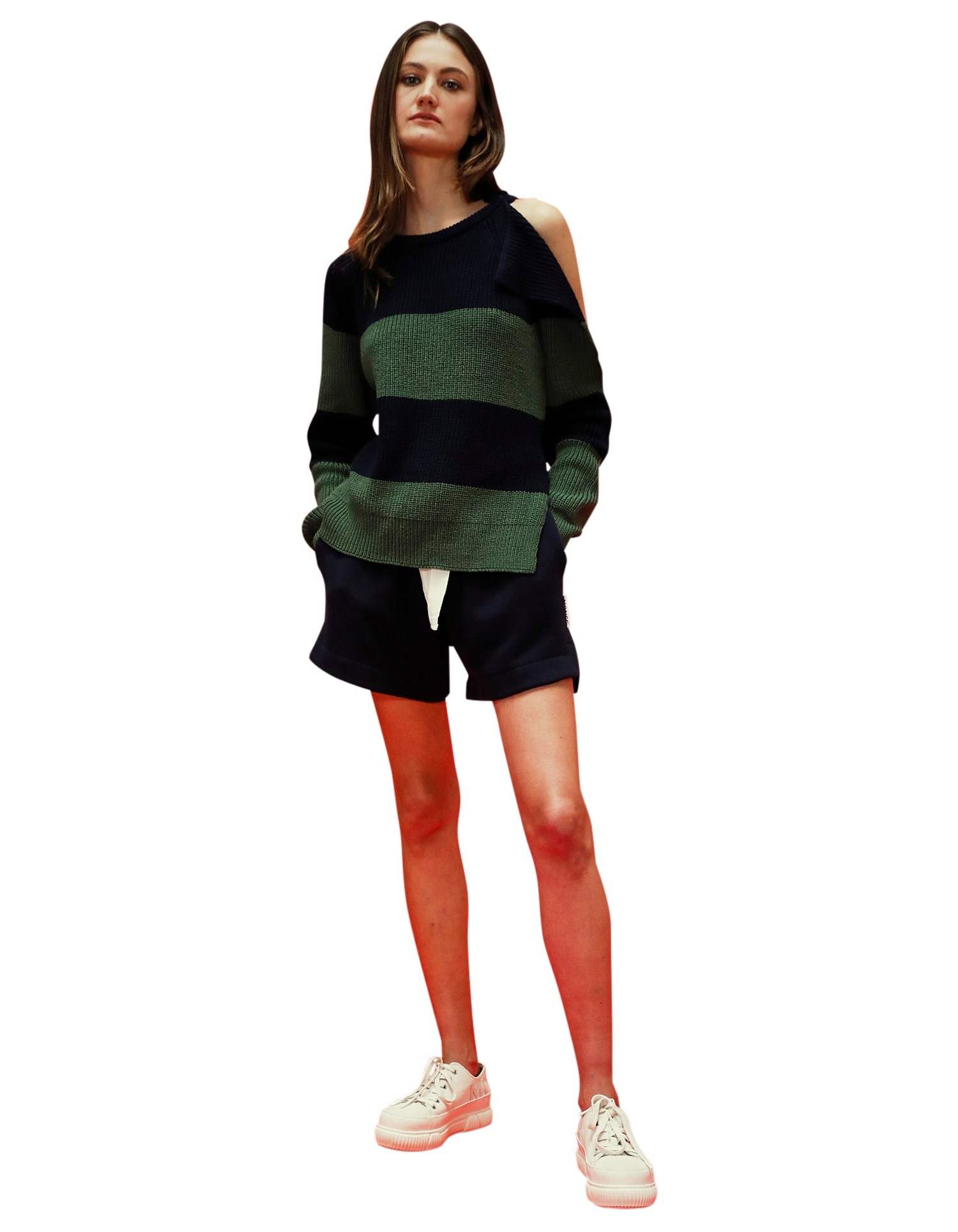MONSE Stripe Buckle Shoulder Sweater in Midnight and Olive on Model No Background Front