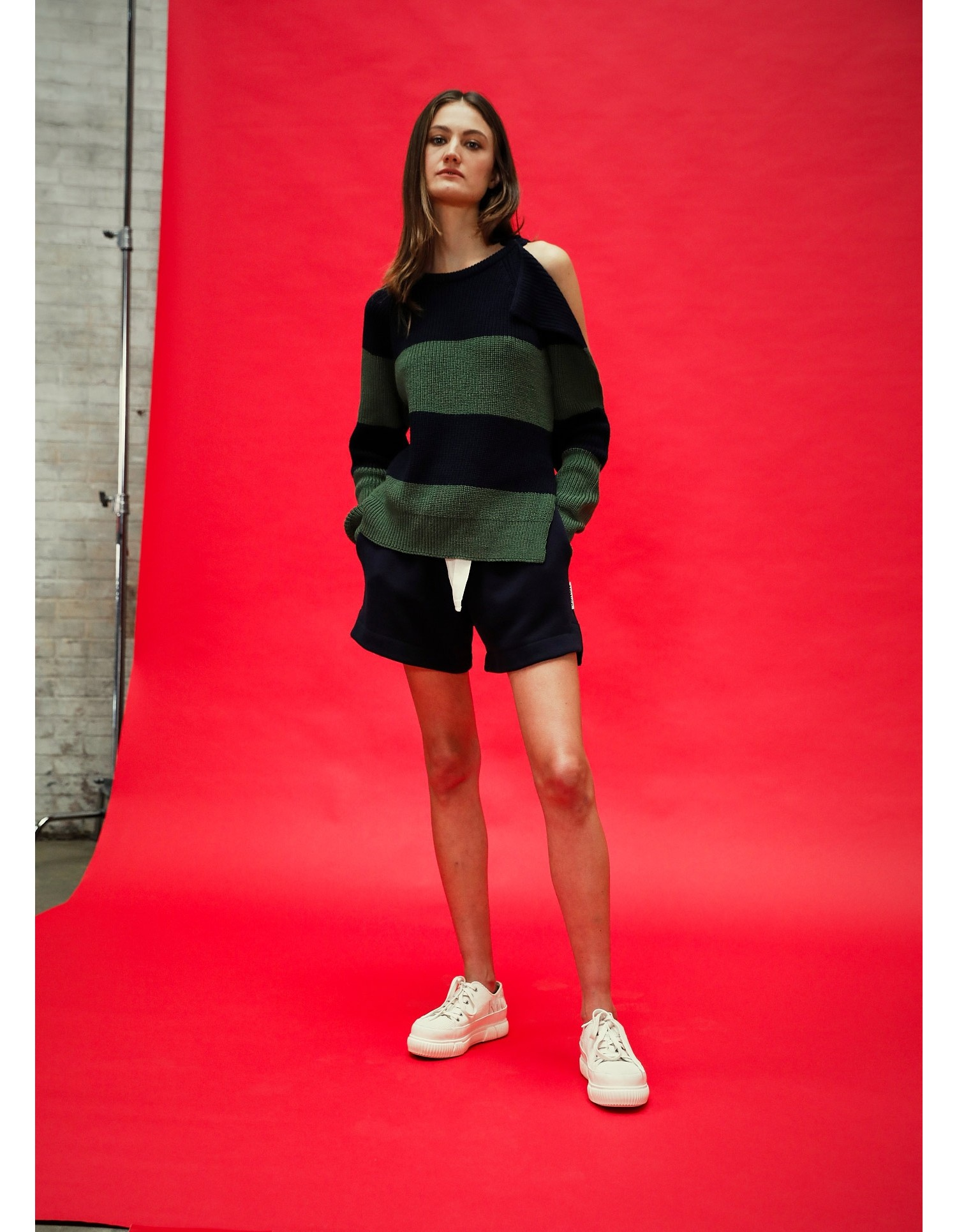 MONSE Stripe Buckle Shoulder Sweater in Midnight and Olive on Model Front View