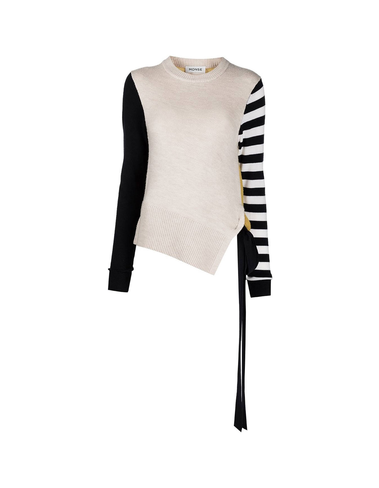 MONSE Stripe Sleeve Color Block Knit Top on Model No Background Front