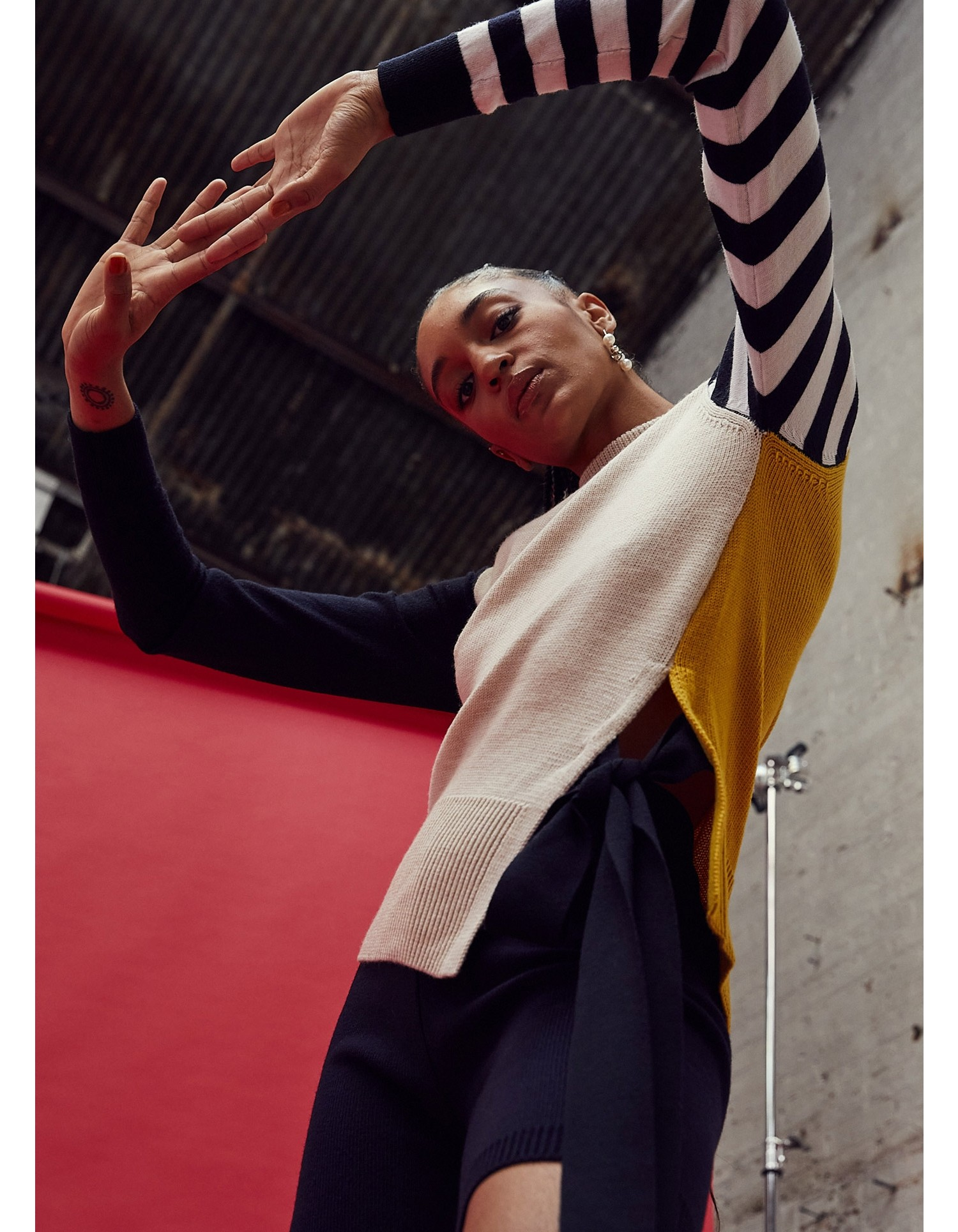 MONSE Stripe Sleeve Color Block Knit Top on Model Front View