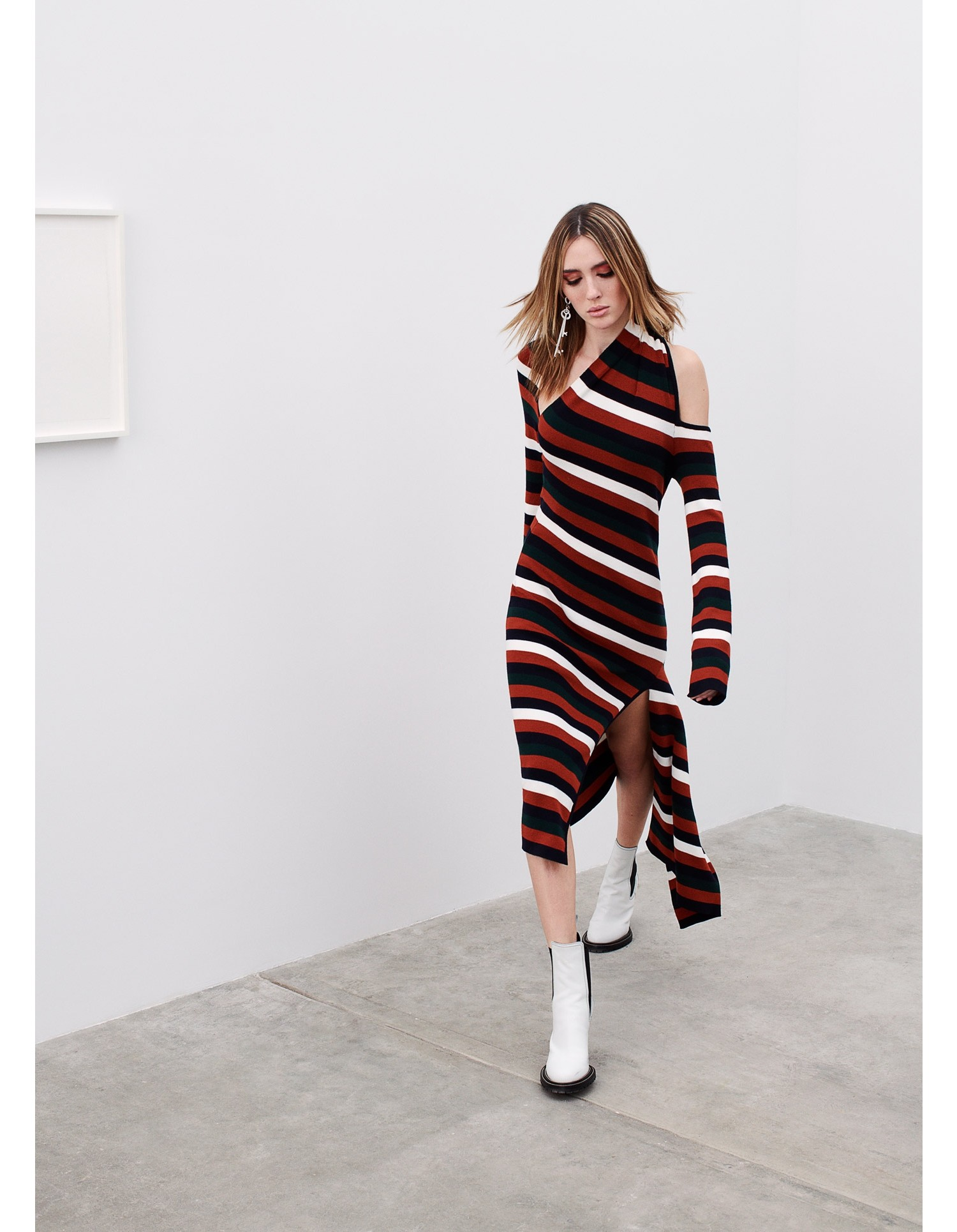 MONSE Stripe Slice Dress Model View