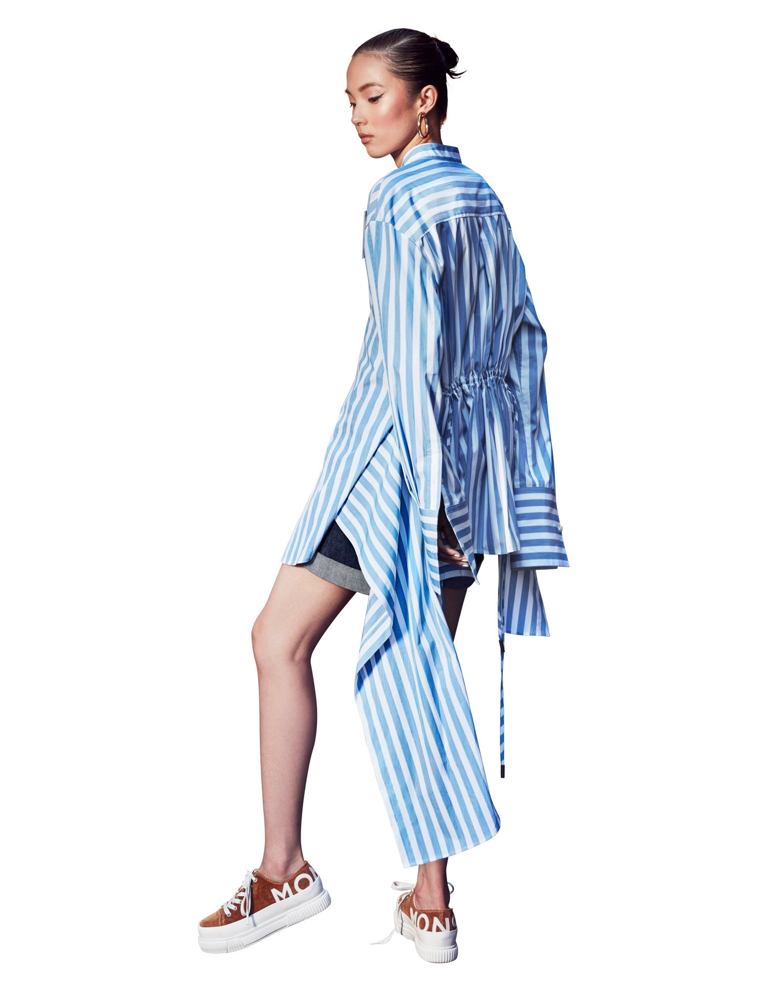 MONSE Striped Drawstring Shirt on Model Full Back View