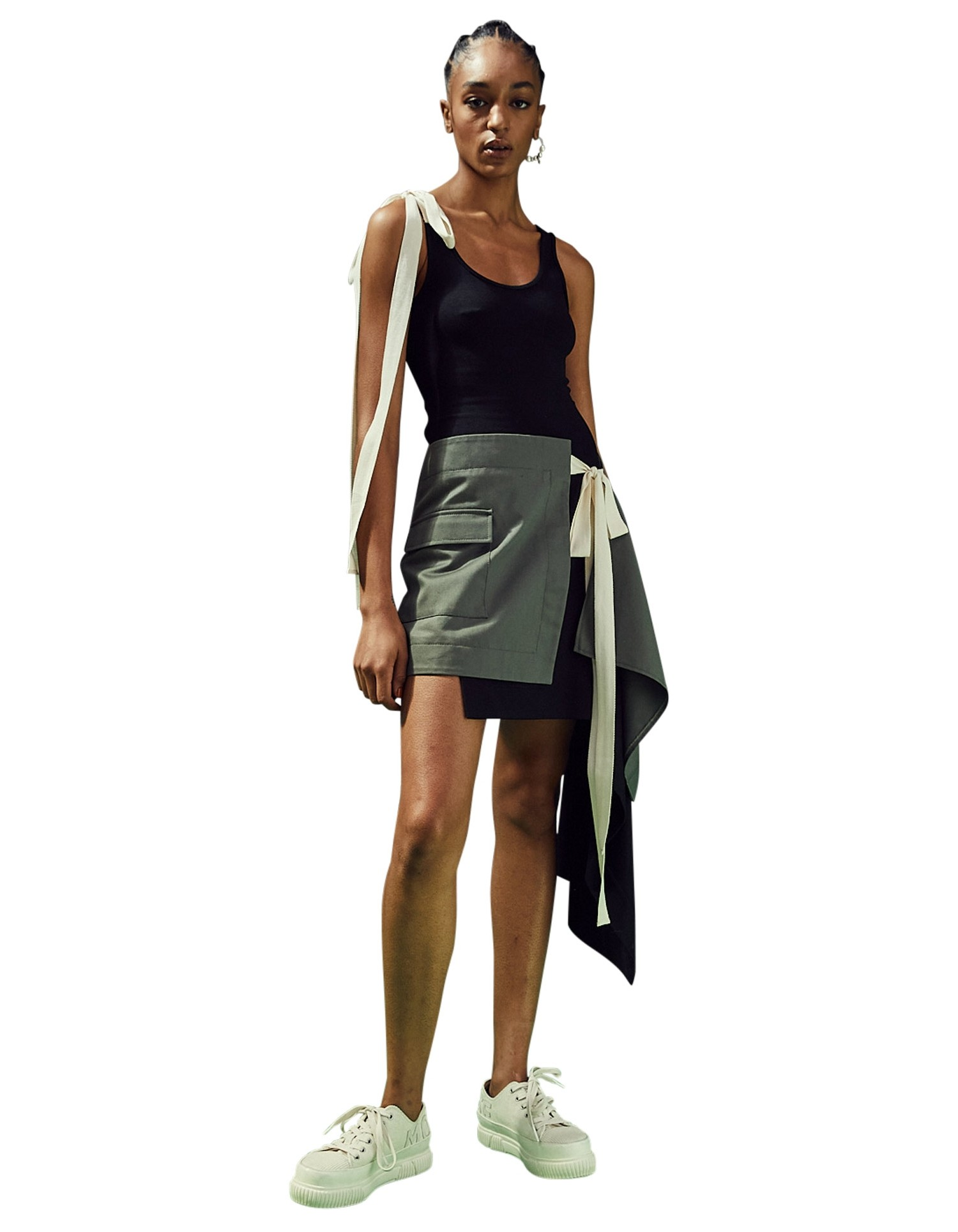 MONSE T-Skirt Dress in Black and Olive on Model No Background Front