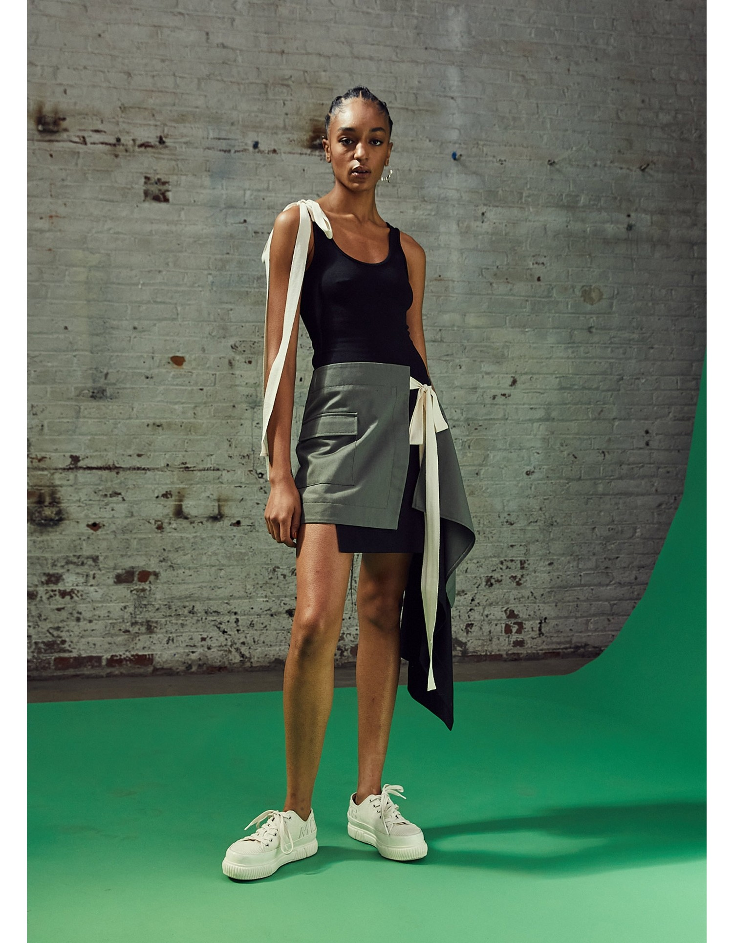 MONSE T-Skirt Dress in Black and Olive on Model Full Front View