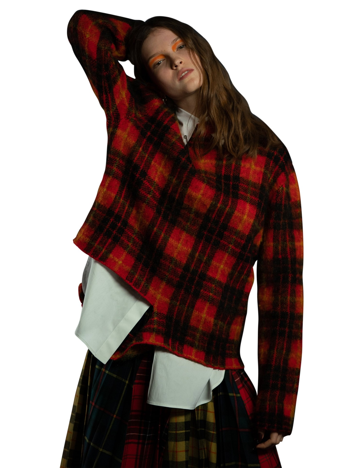 MONSE Tartan Crooked Tail Pullover in Scarlet Multi on Model Front Detail View