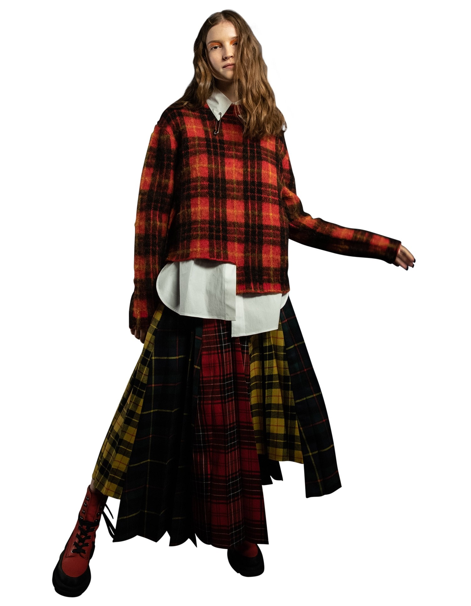 MONSE Tartan Pleated Step Skirt in Plaid Multi on Model Front View