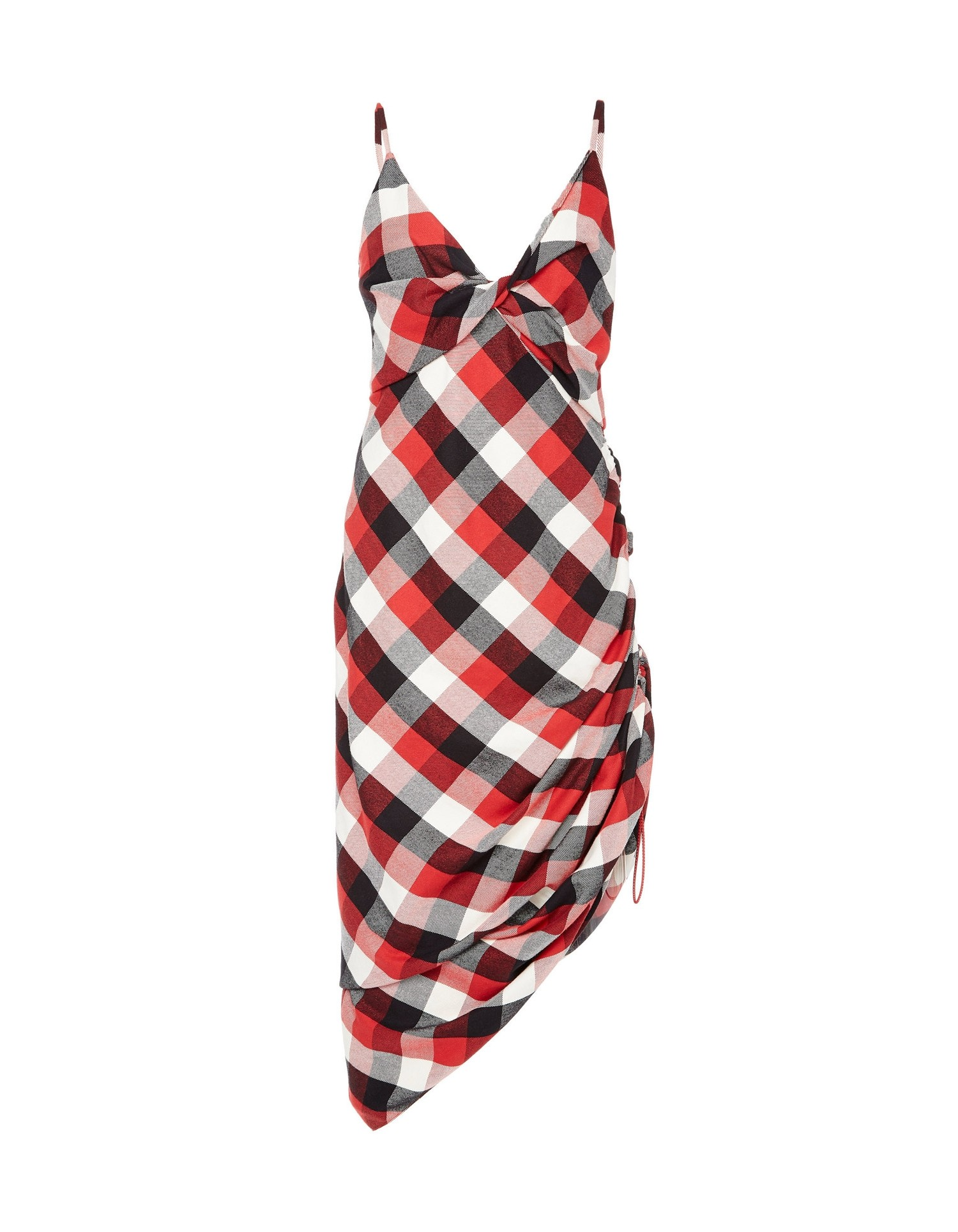 MONSE Twisted Plaid Slip Dress on Model Front View