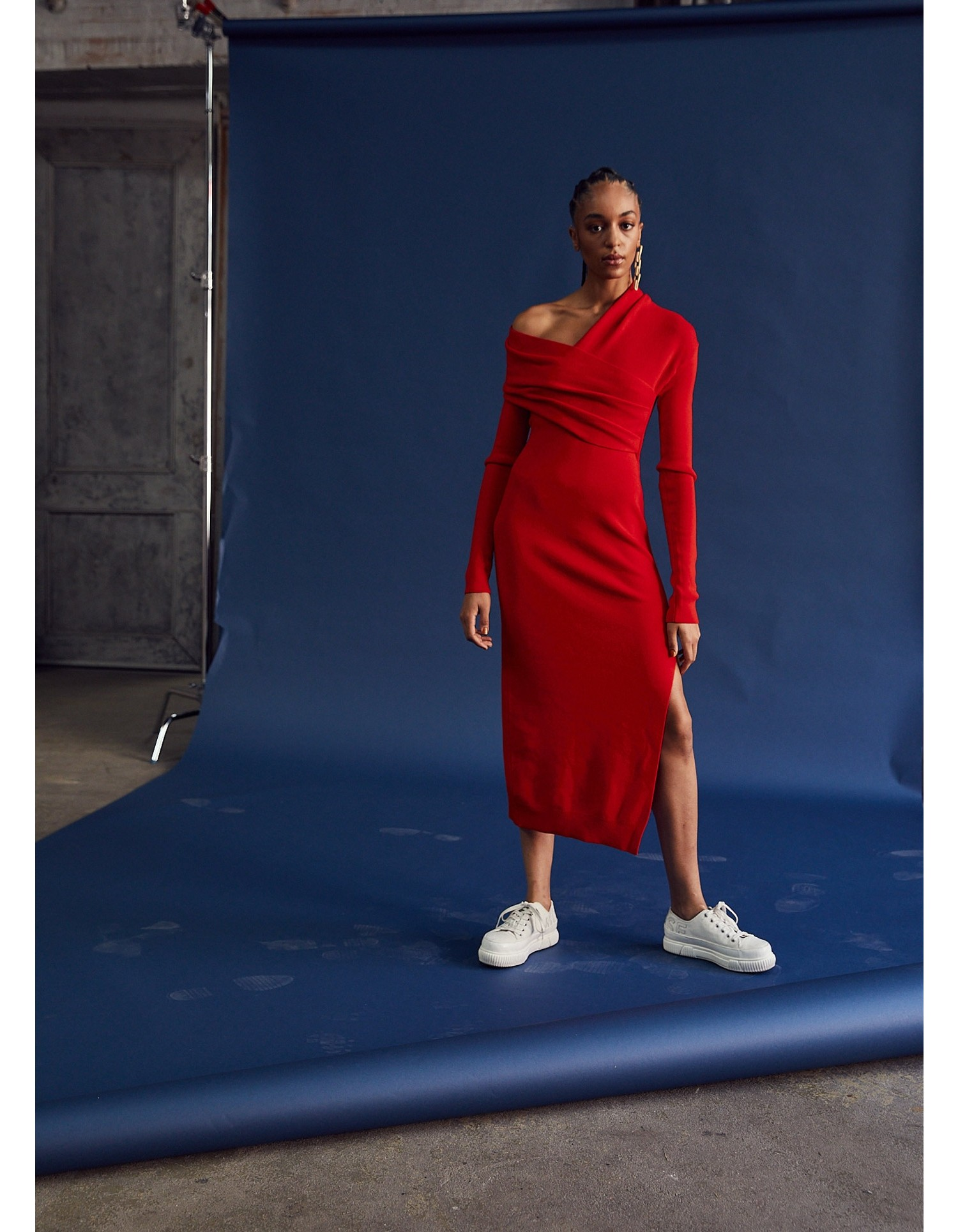 MONSE Twisted Wrap Collar Knit Dress in Code Red on Model Look 1