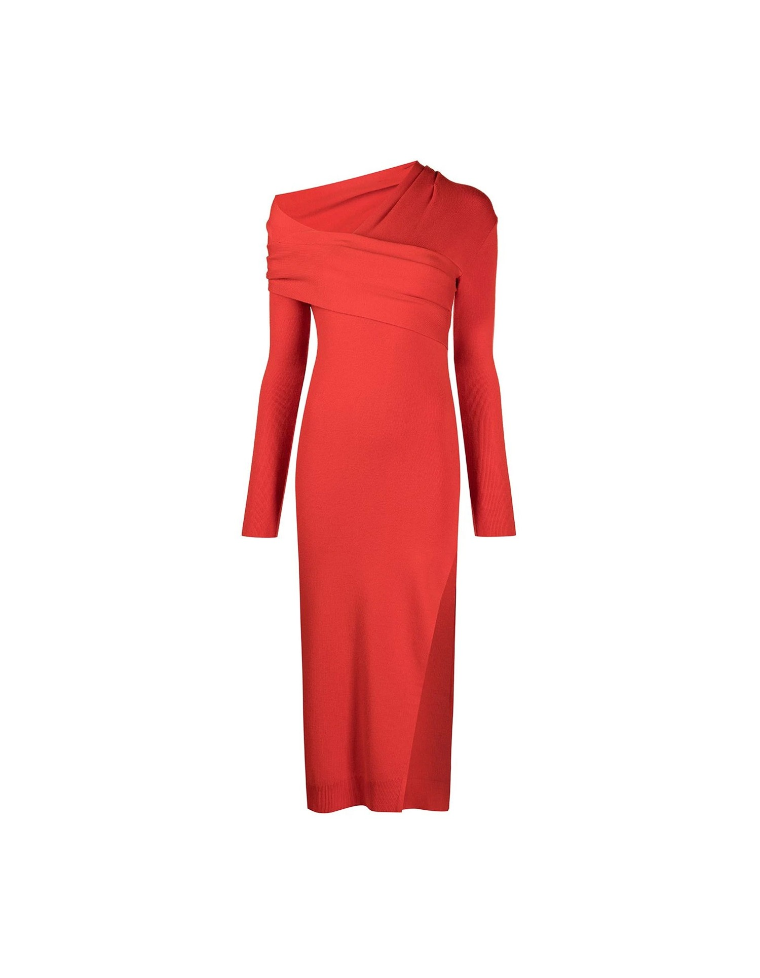 MONSE Twisted Wrap Collar Knit Dress in Code Red on Model No Background Front