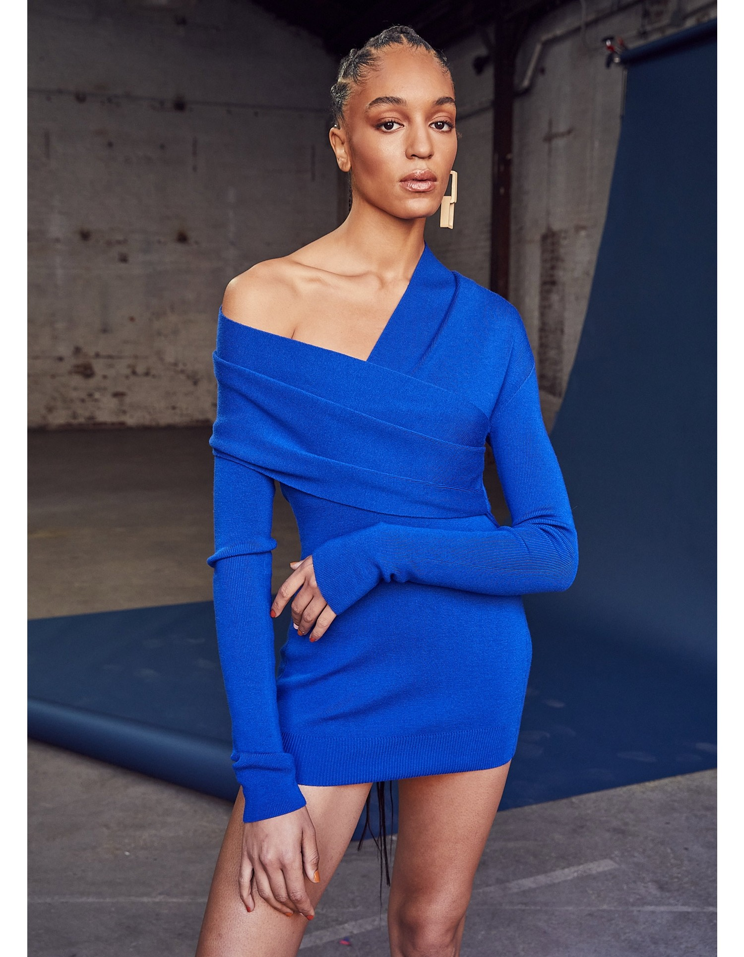 MONSE Twisted Wrap Collar Knit Mini Dress in Electric Blue on Model Front View