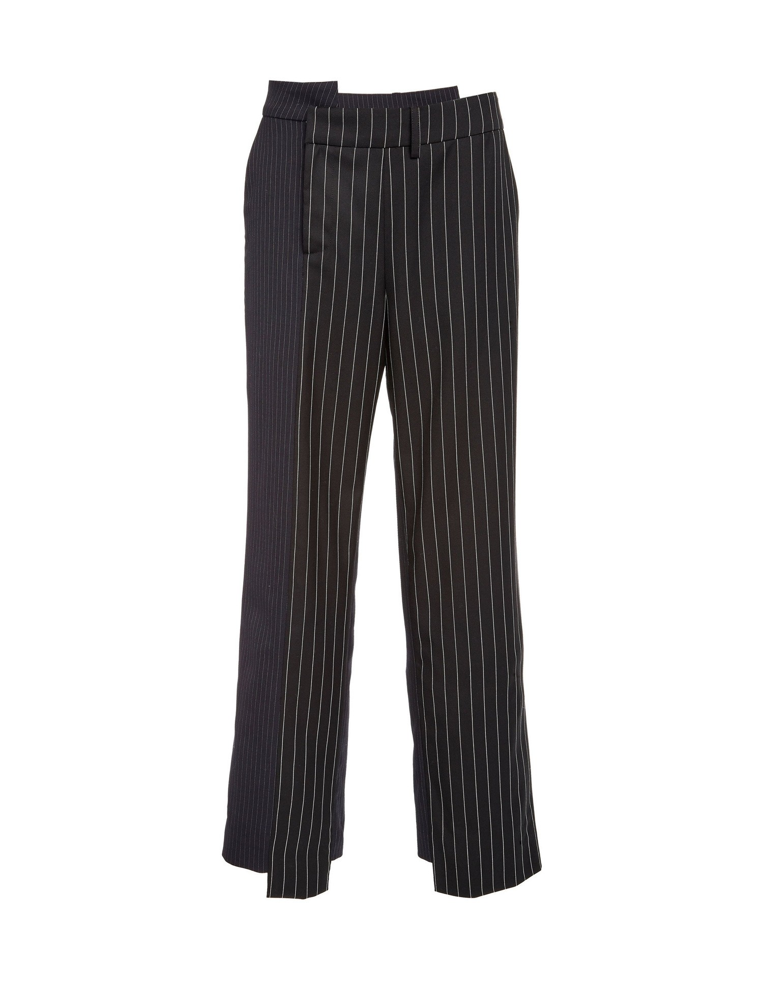 MONSE Two Tone Pinstripe Asymmetrical Pant on Model Front View