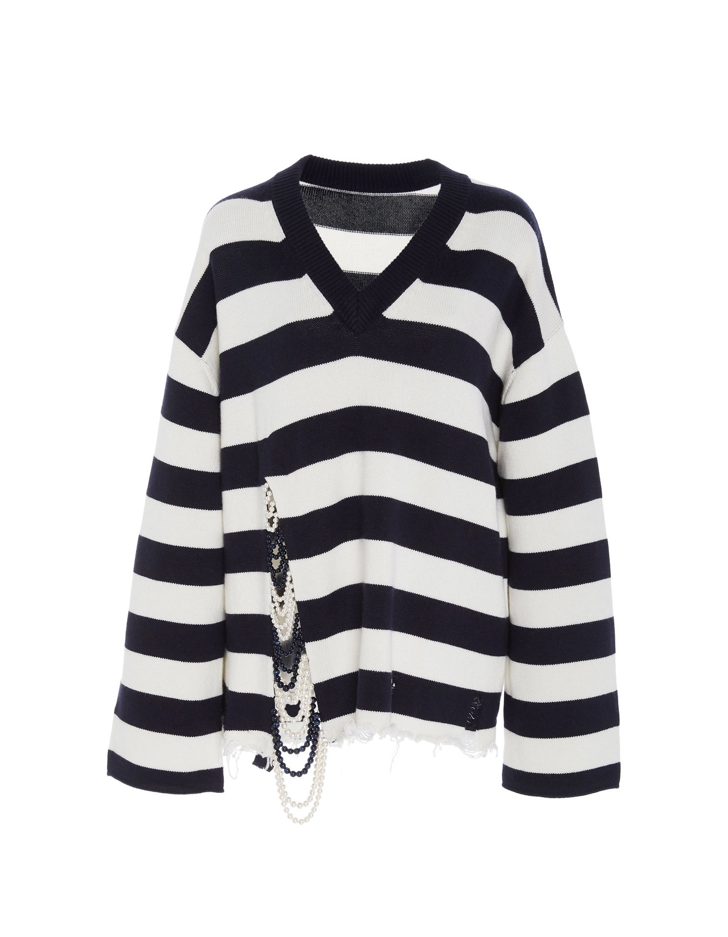 Monse Unisex Front Pearl V-Neck Mariniere Sweater on Model Front