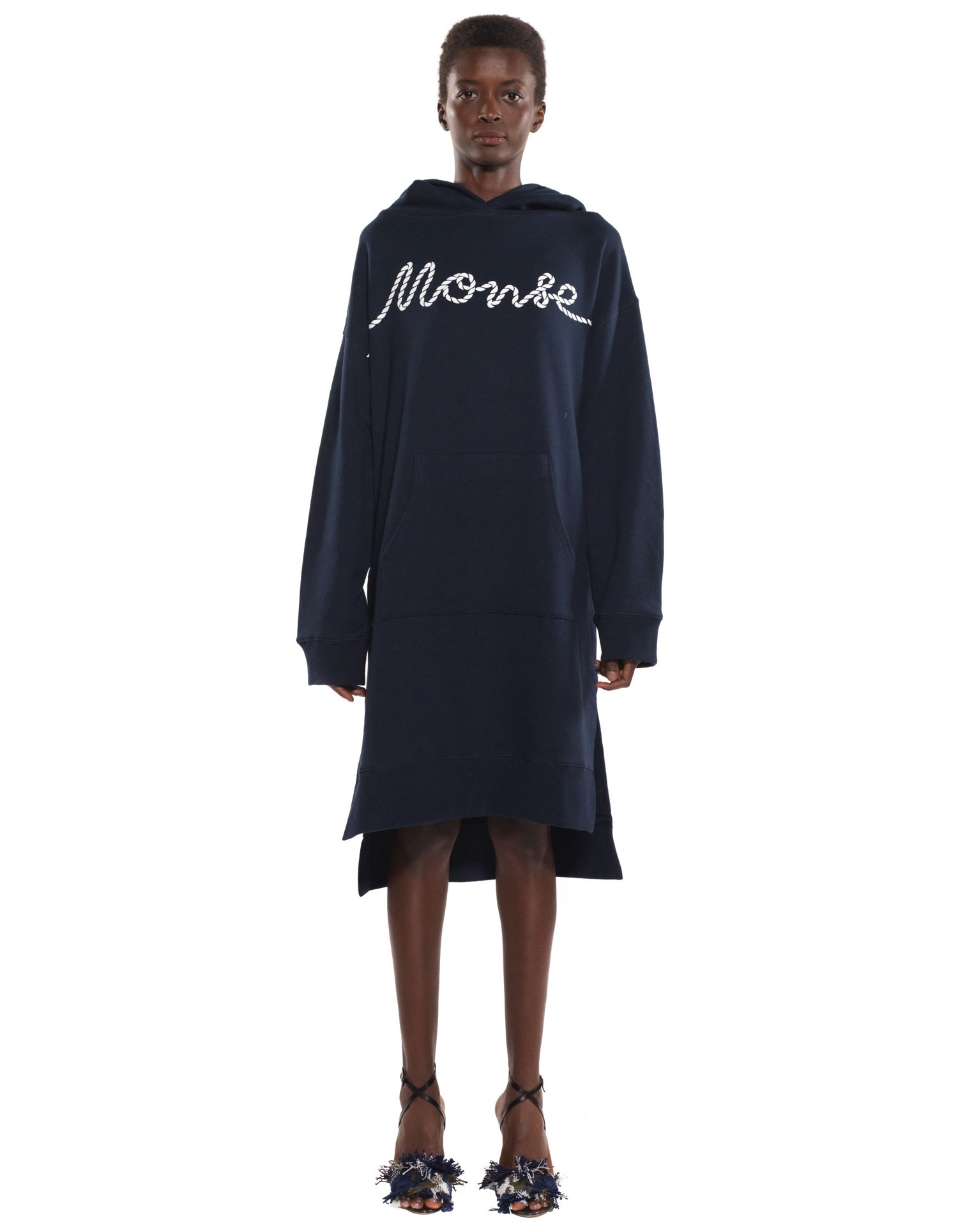 Monse Unisex Rope Hoodie in Navy on Model