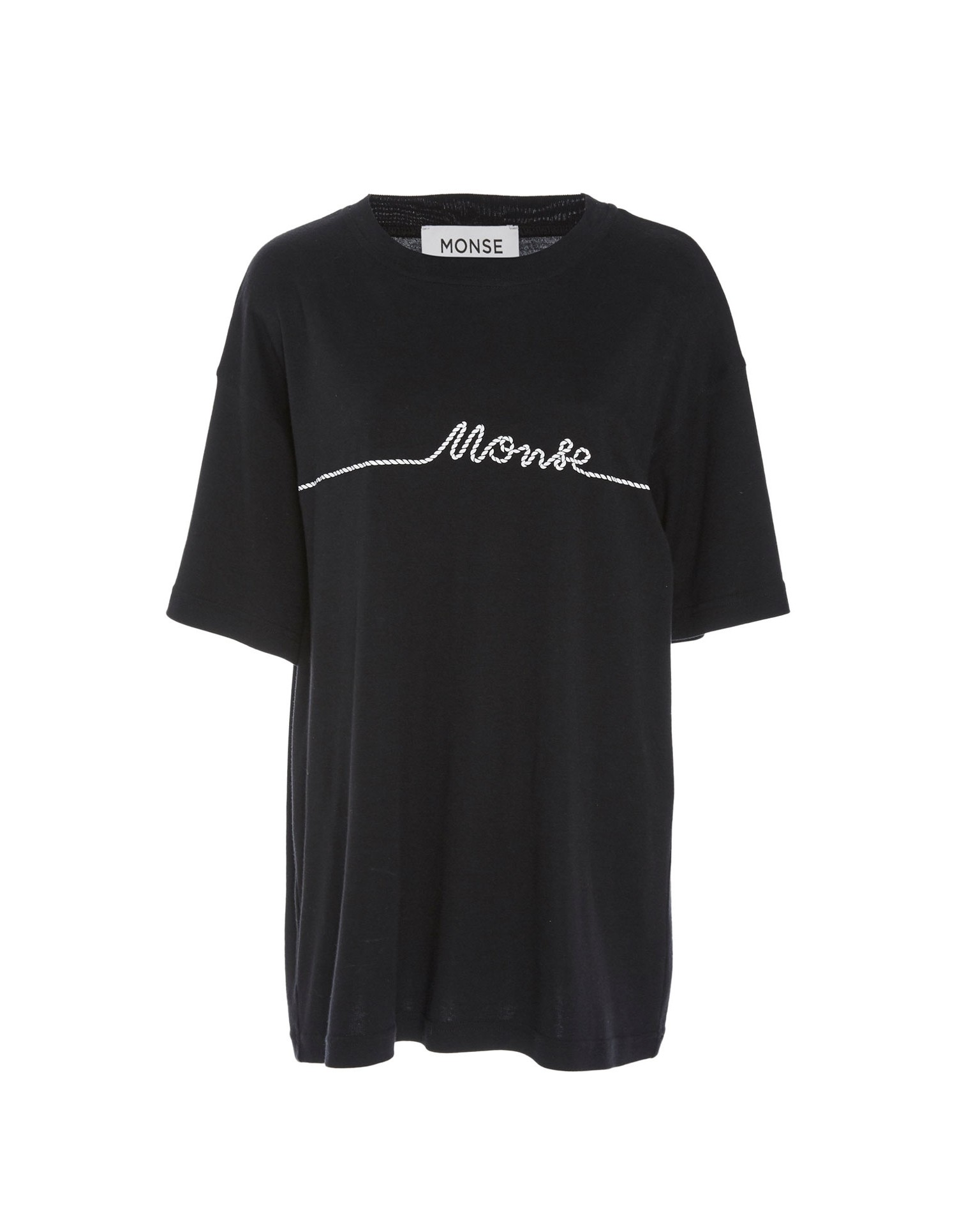 Monse Unisex Small Rope Print Tee in Black on Model Front