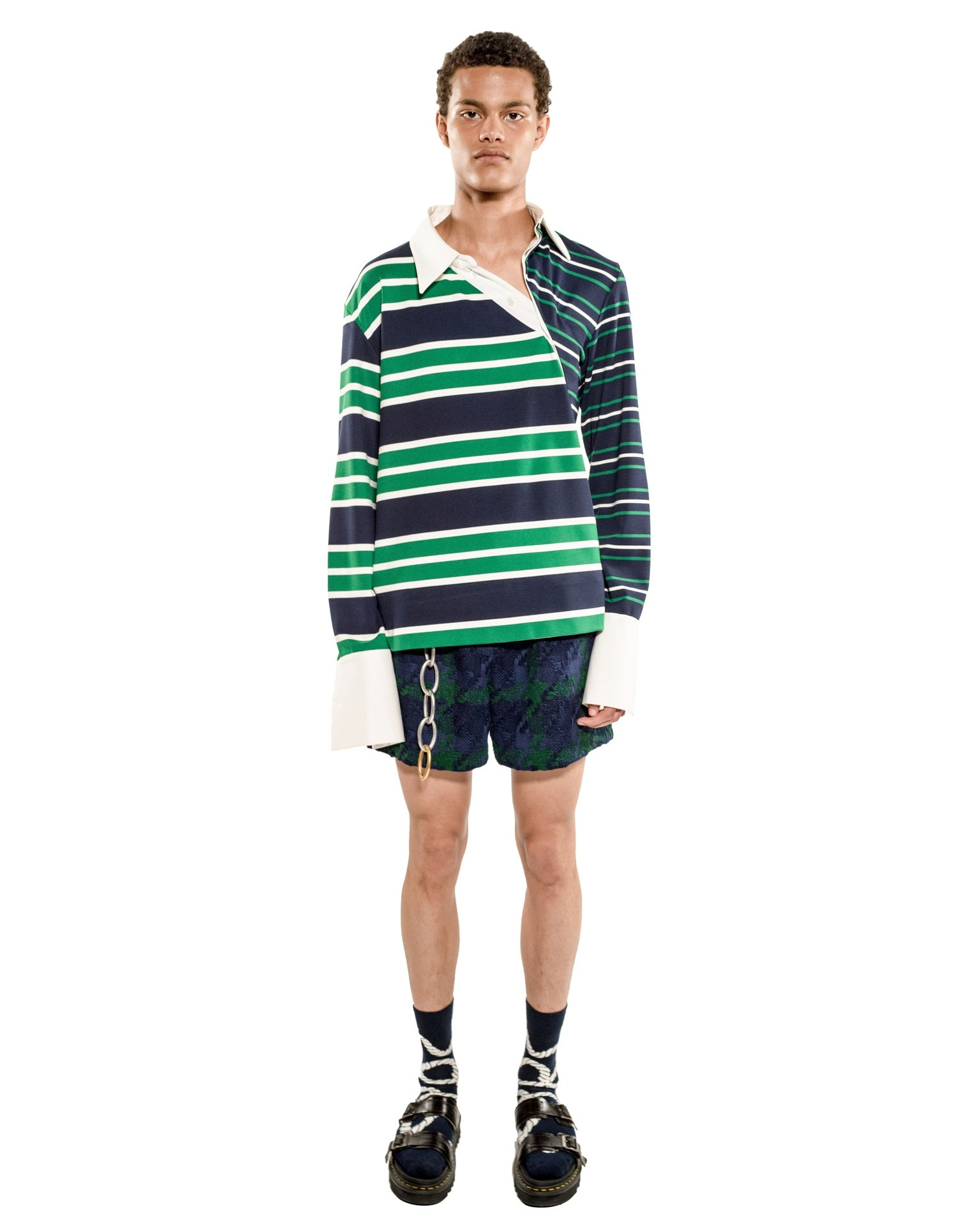 Monse Unisex Striped Twisted Rugby Top on Male Model