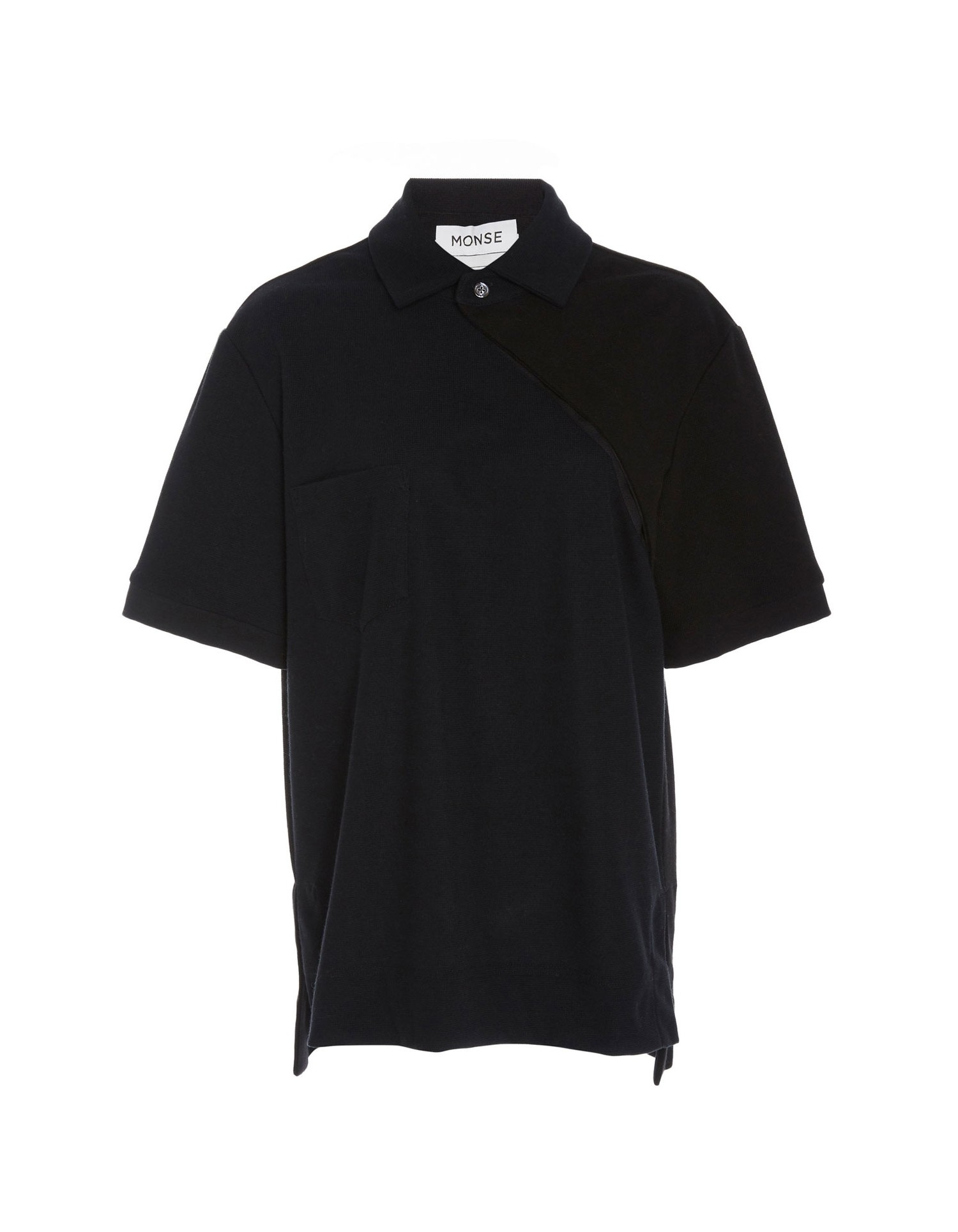 Monse Unisex Two-Tone Twisted Polo on Male Model Front