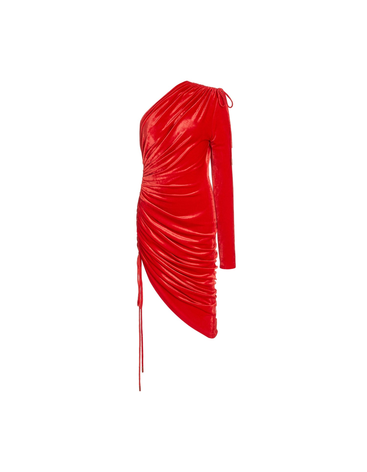 MONSE Velvet One Shoulder Drawstring Dress in Scarlet Flat Front