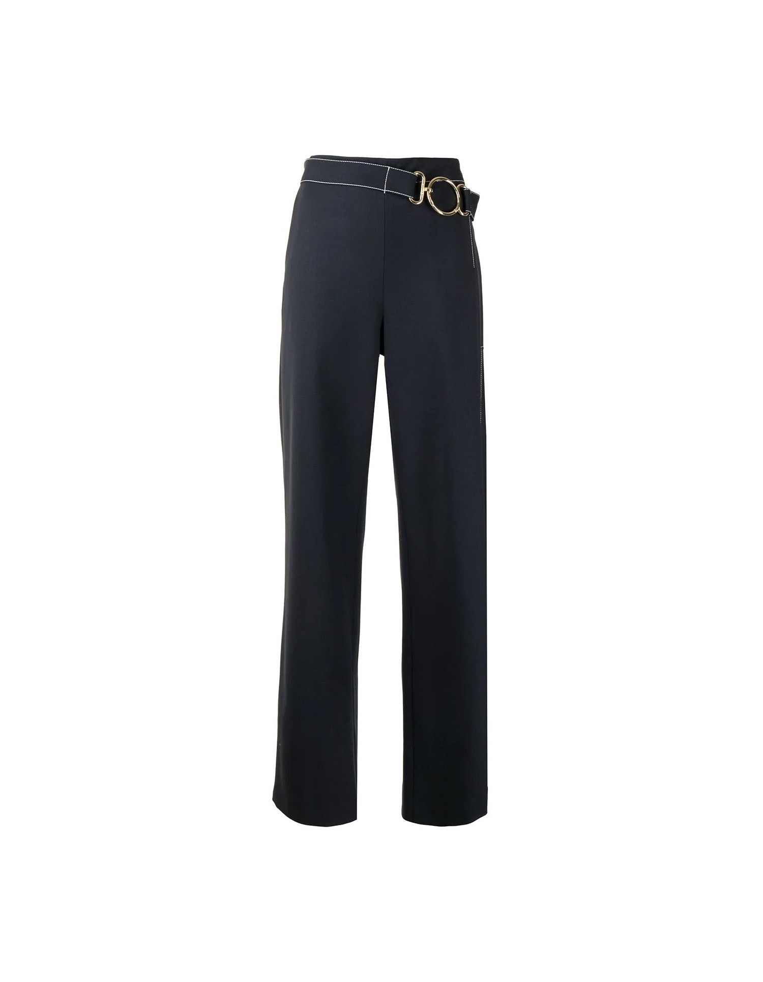 MONSE Vented Wide Leg Pant in Midnight Flat Front