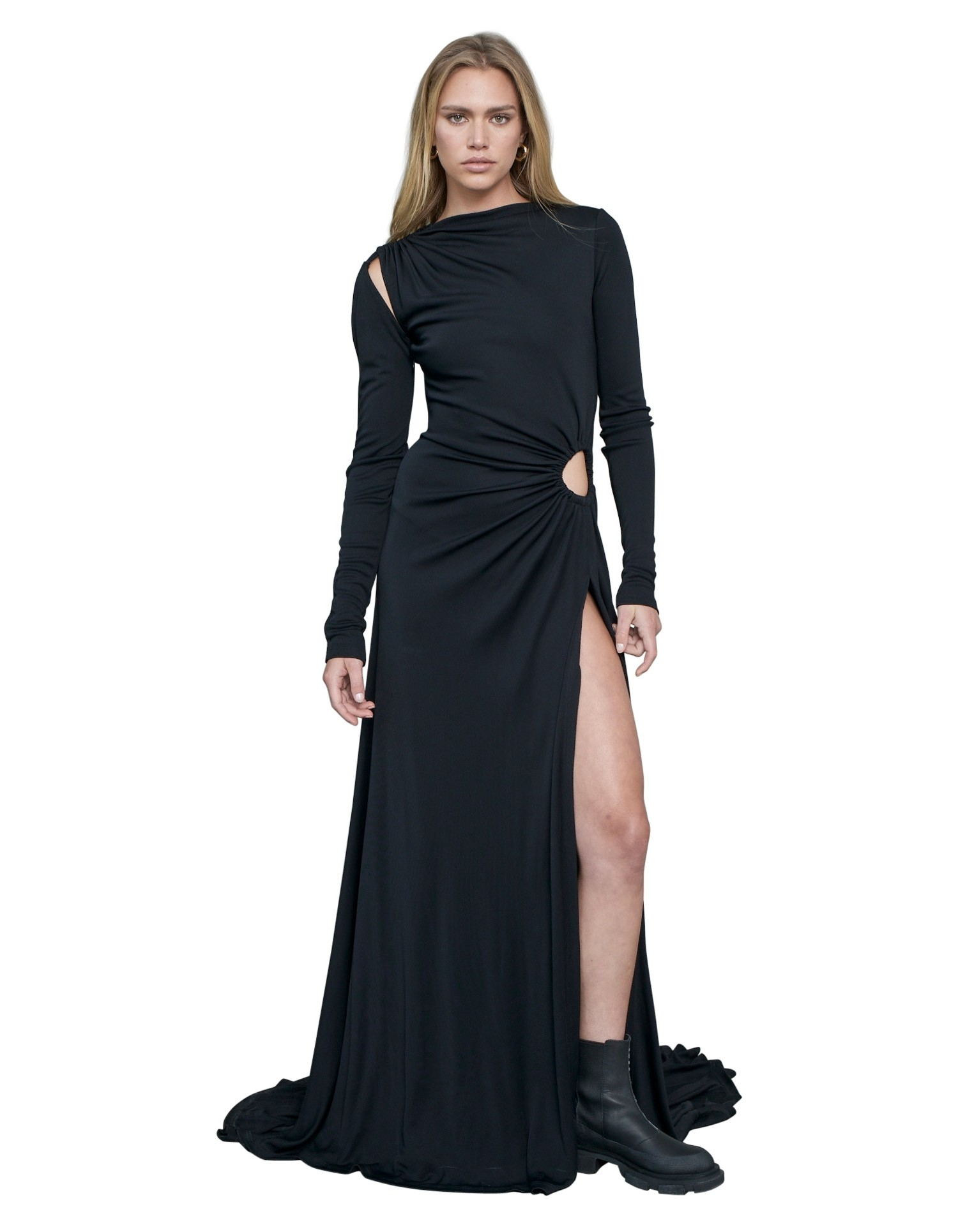 MONSE Vortex Long Sleeve Gown in Black on Model Full Front View