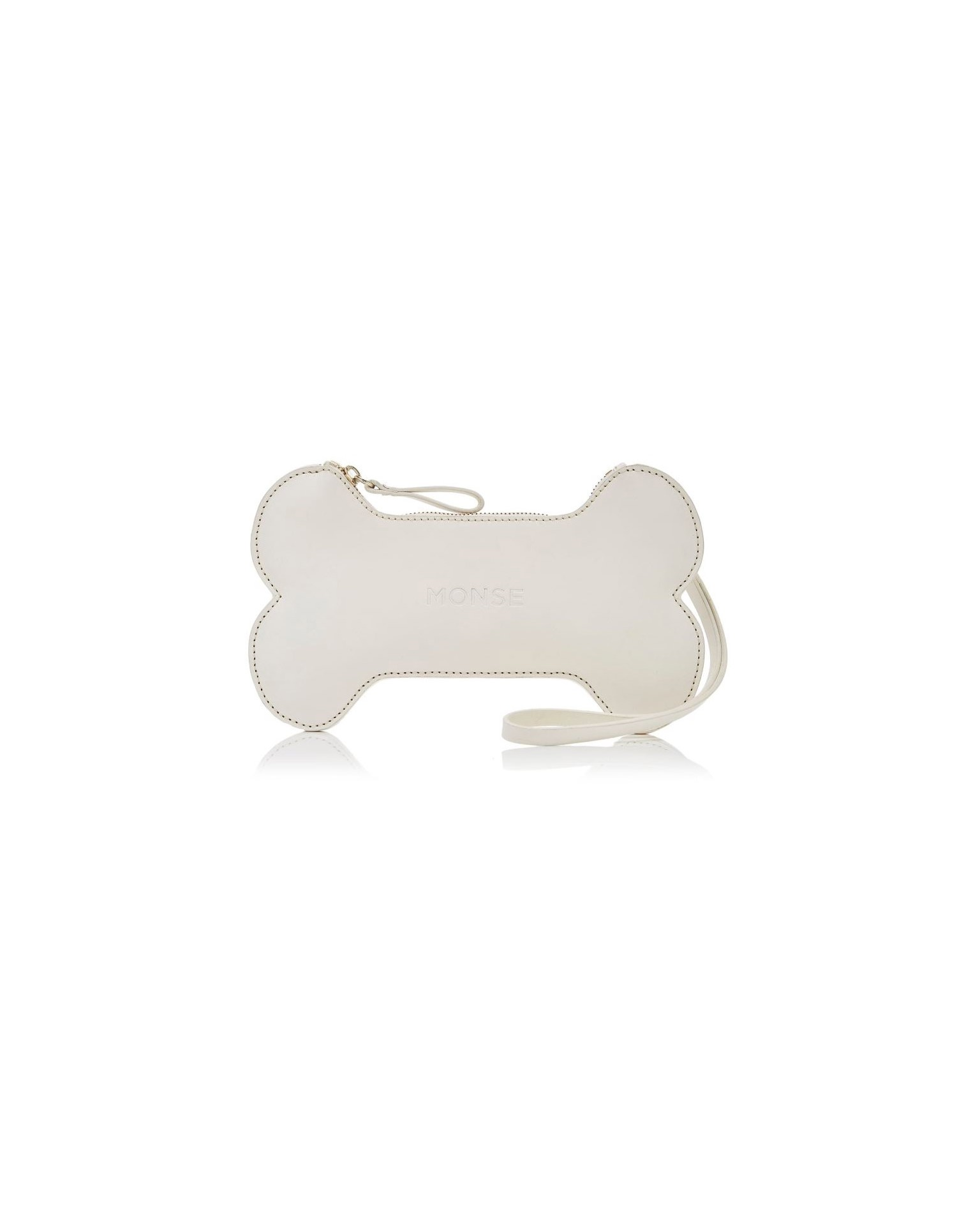 MONSE Bone Leather Clutch in White with Model