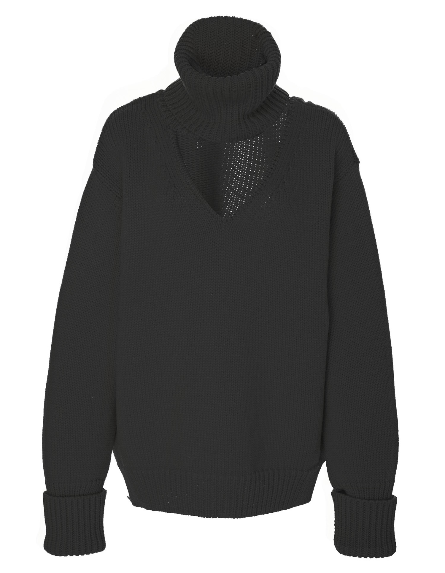 Drop Shoulder V-Neck Turtleneck Black
