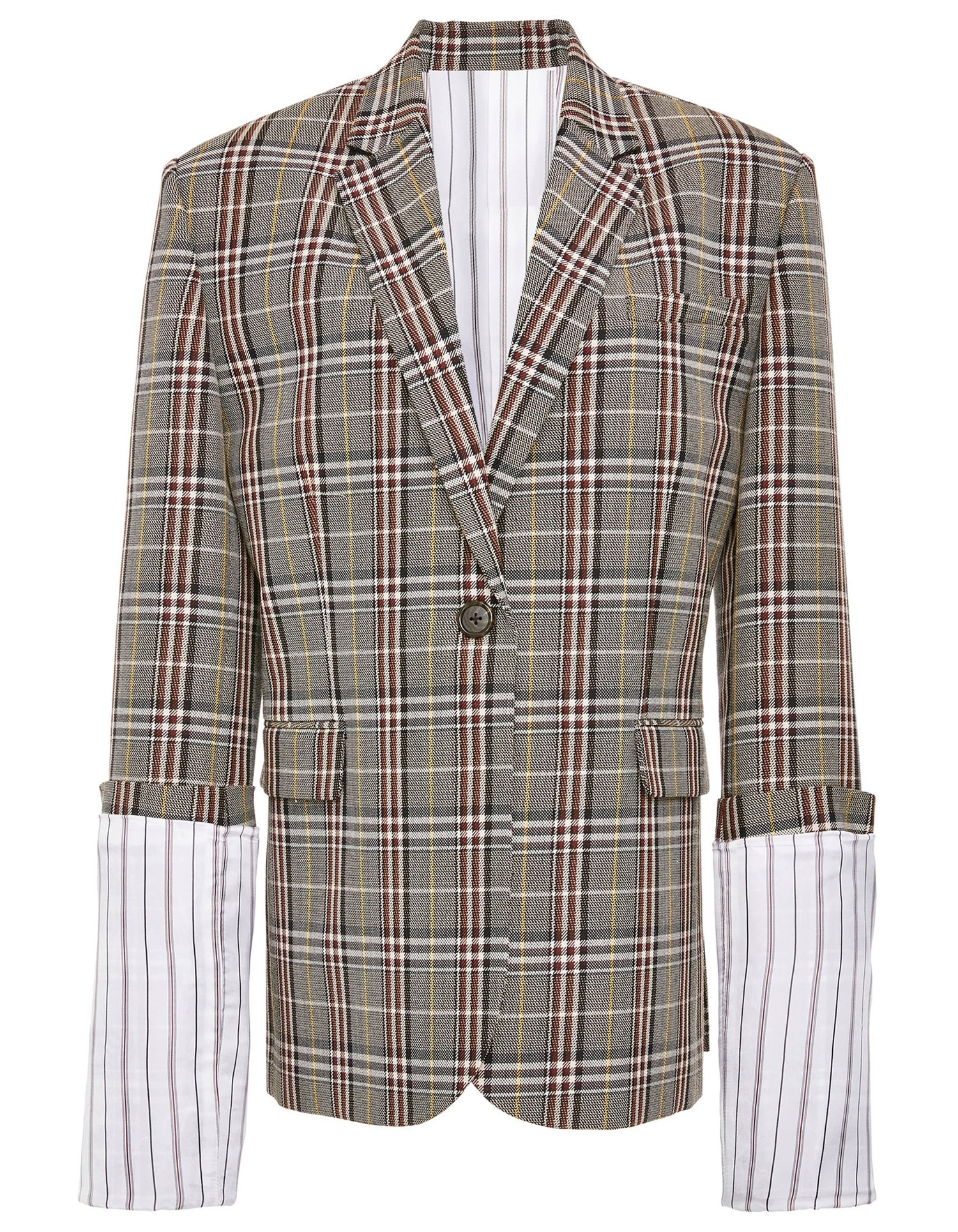 Large Plaid Cuff Jacket