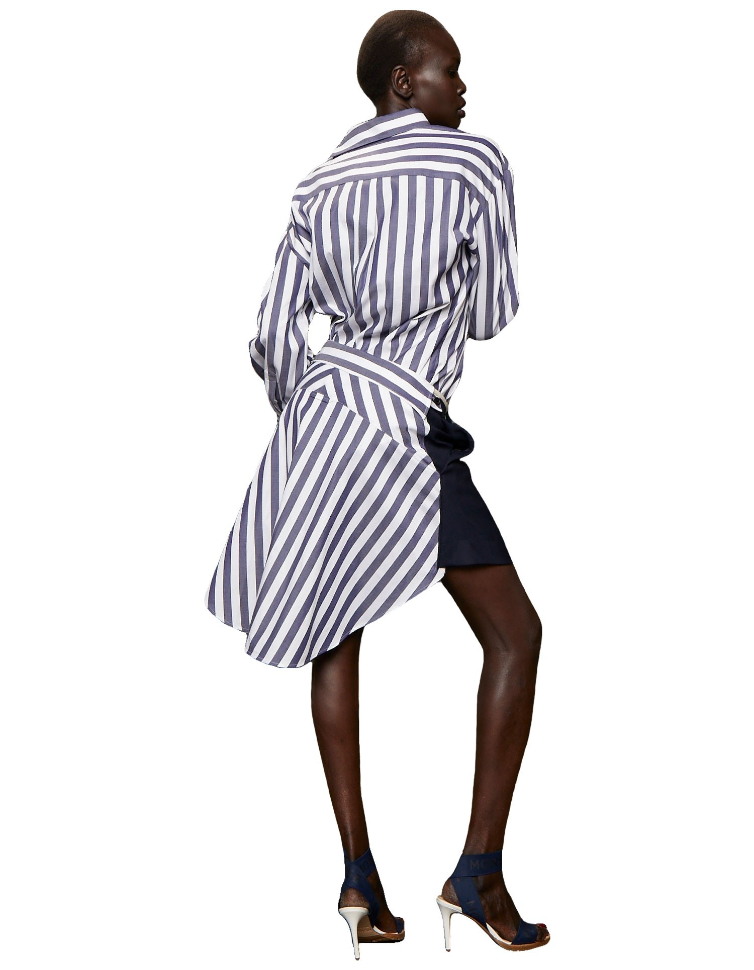 Monse Women's Off-The-Shoulder Deconstructed Navy and White Striped Shirt
