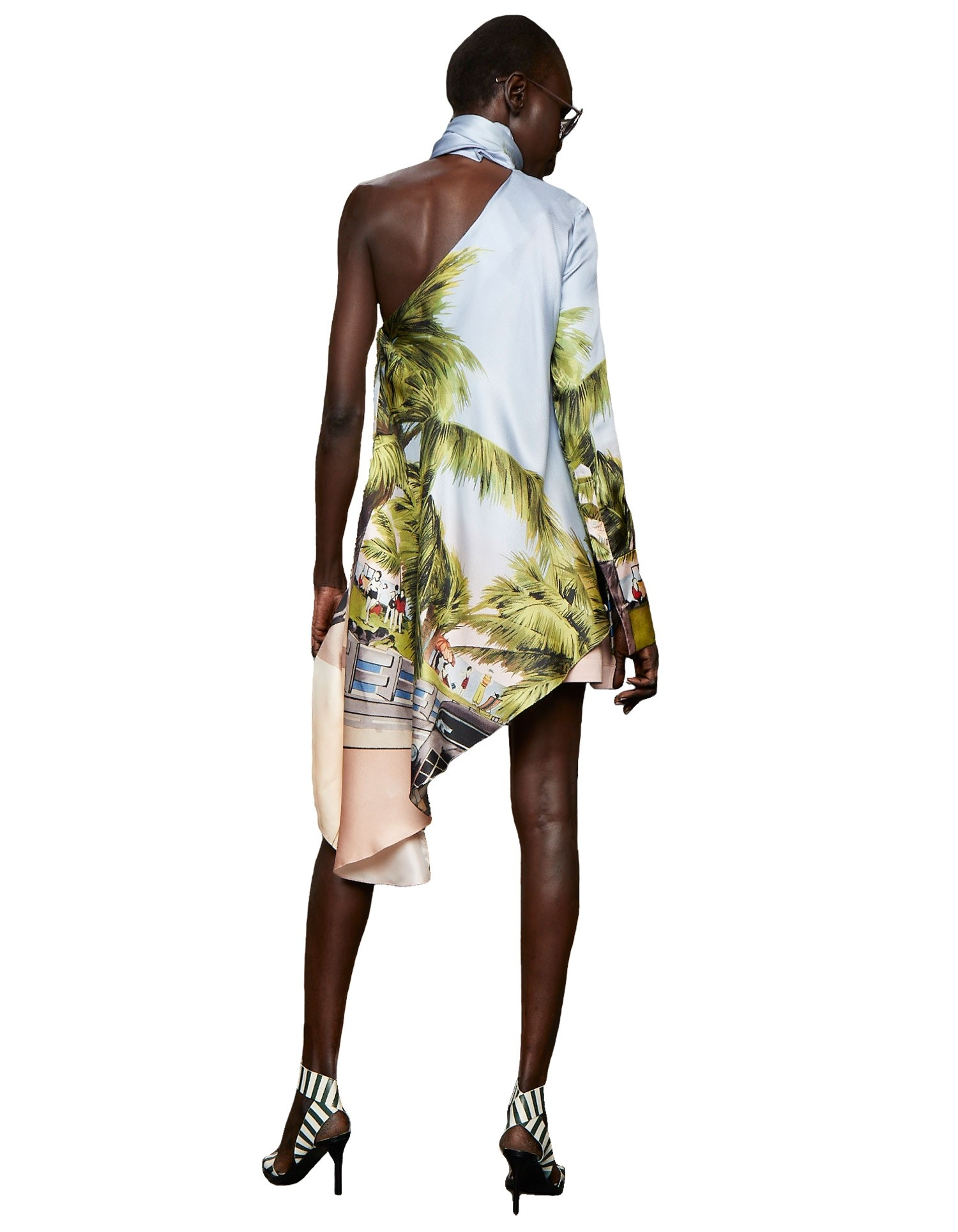 Monse Women's One-Shoulder Scenic Print Top with High Scarf Neckline