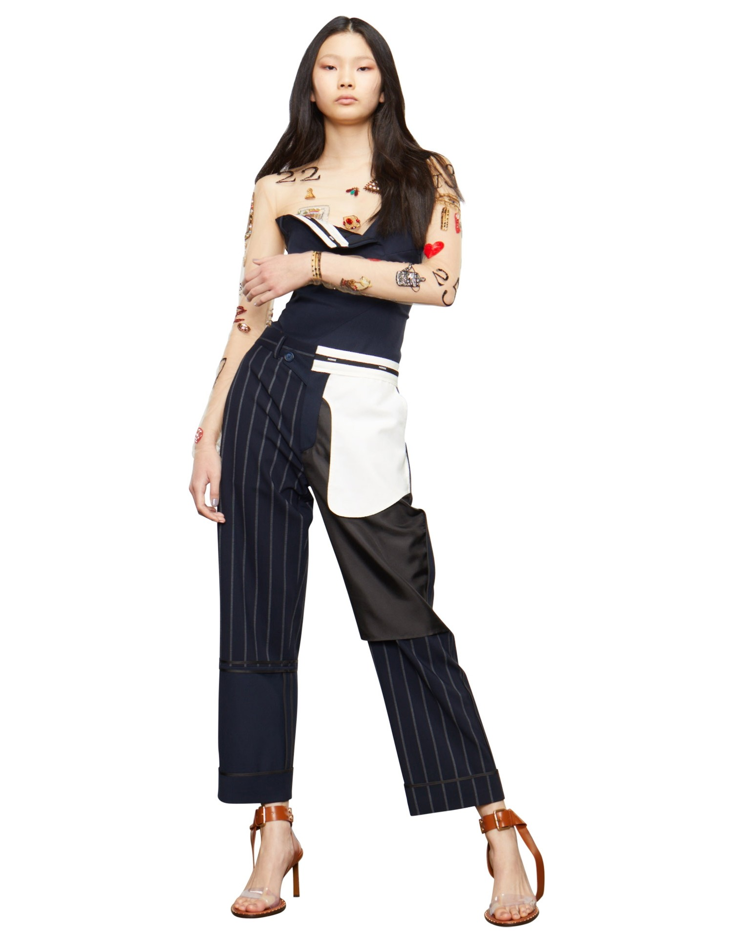 MONSE Pinstripe Inside Out Patchwork Pant on Model Front View