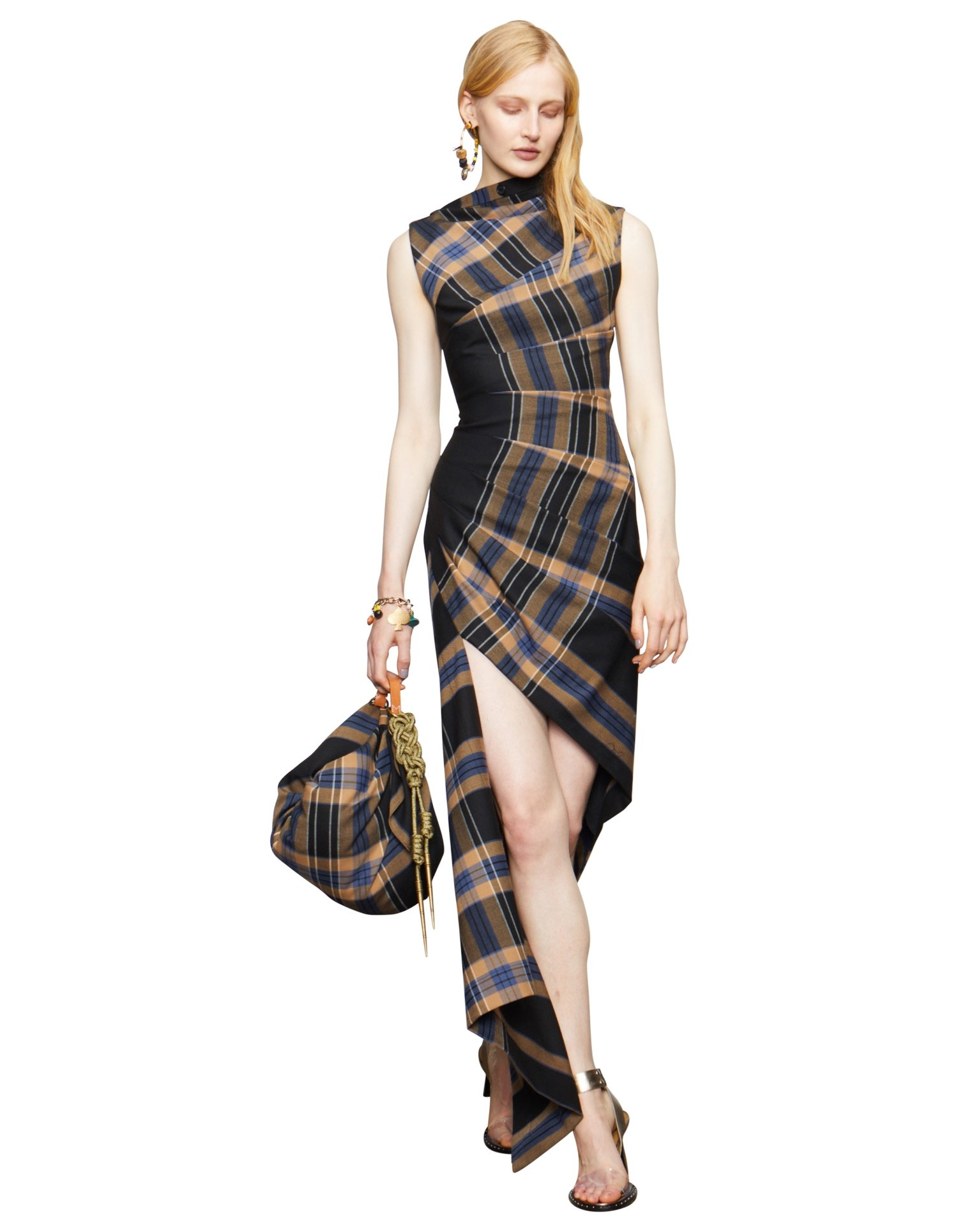 MONSE Plaid Pleated Sleeveless Dress on Model Front View