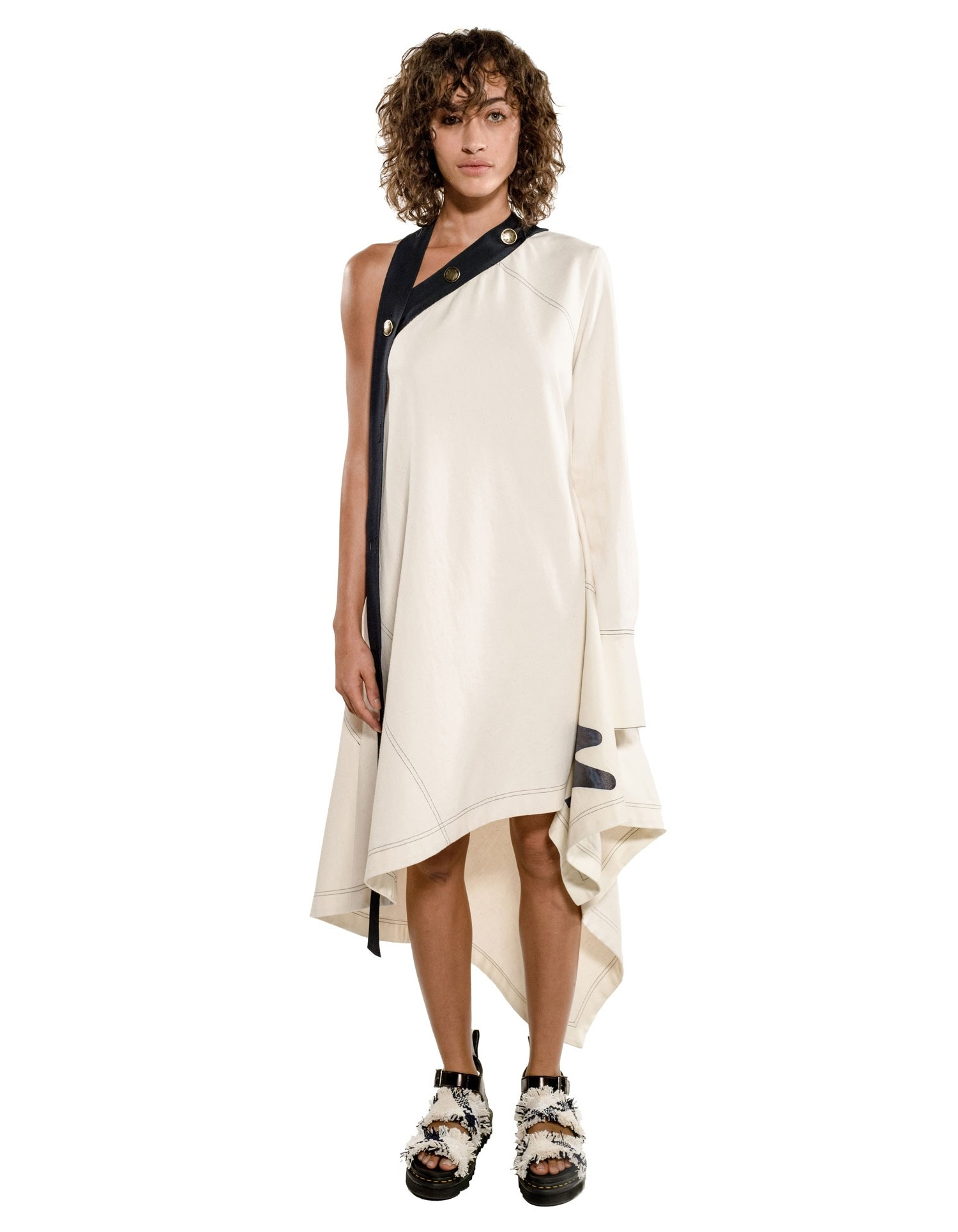 Monse Womens Sail Print Asymmetric Canvas Dress Model Front