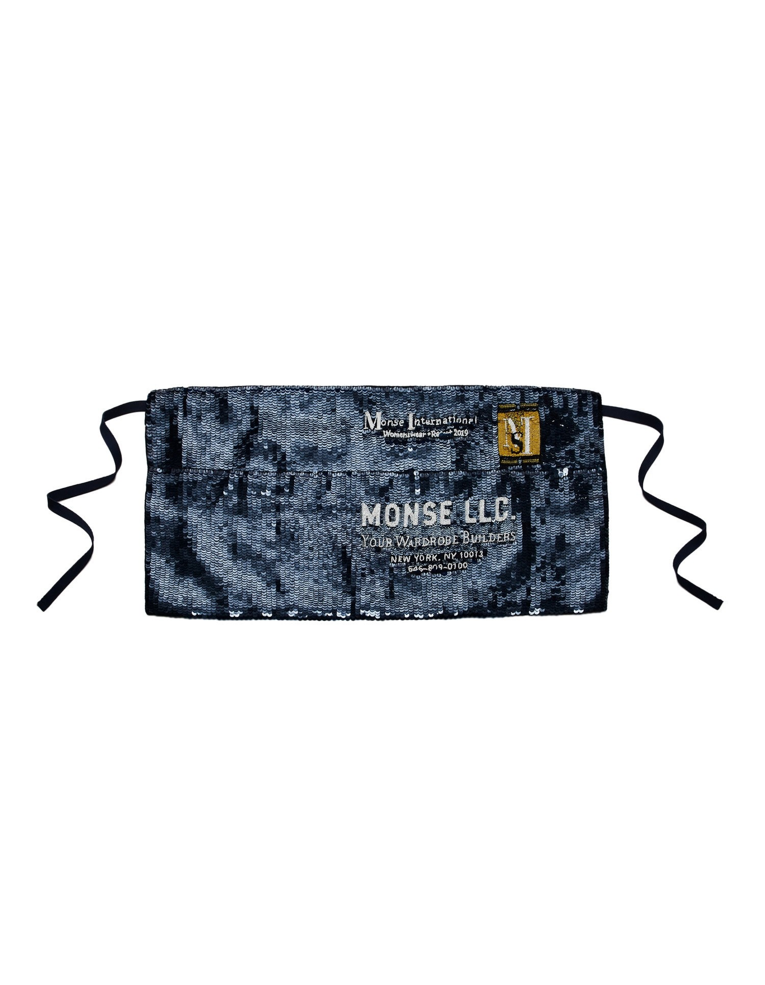 Monse Sequin Apron Navy