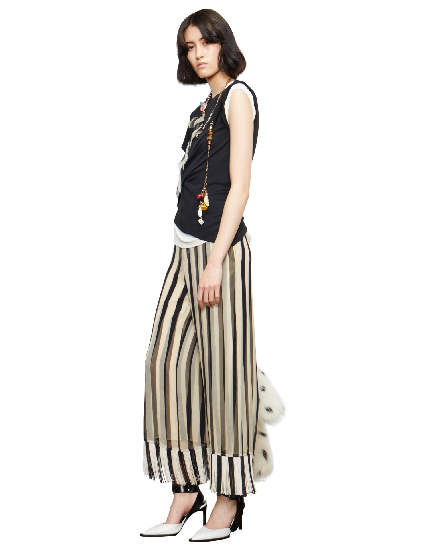 MONSE Striped Chiffon Fringe Culotte on Model Side View