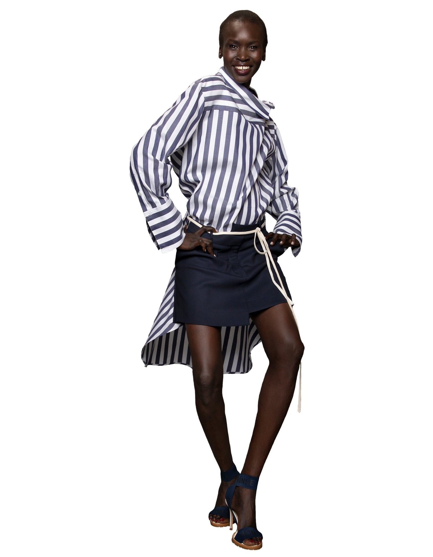 Monse Women's Navy and White Striped Shirt with Asymmetric Waistline