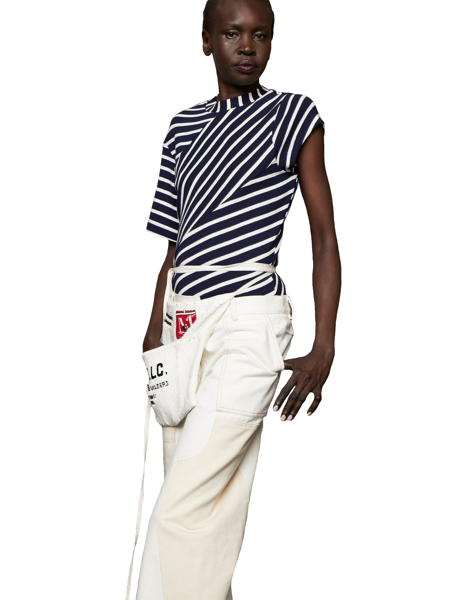 Monse Women's Twisted Striped Navy and White T-Shirt