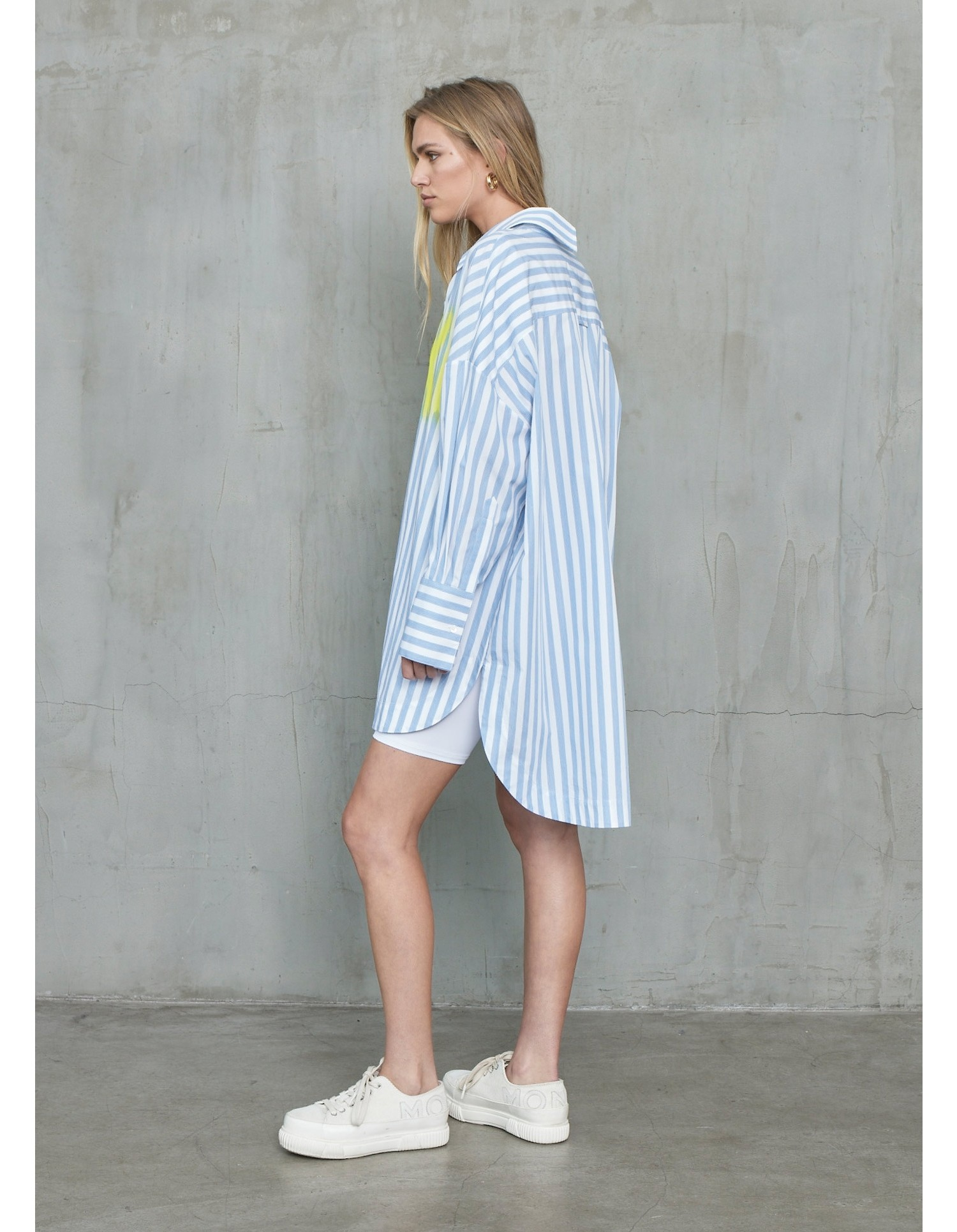 MONSE XOXO Oversized Striped Shirt Dress in Sky and White on Model No Background Full Front View