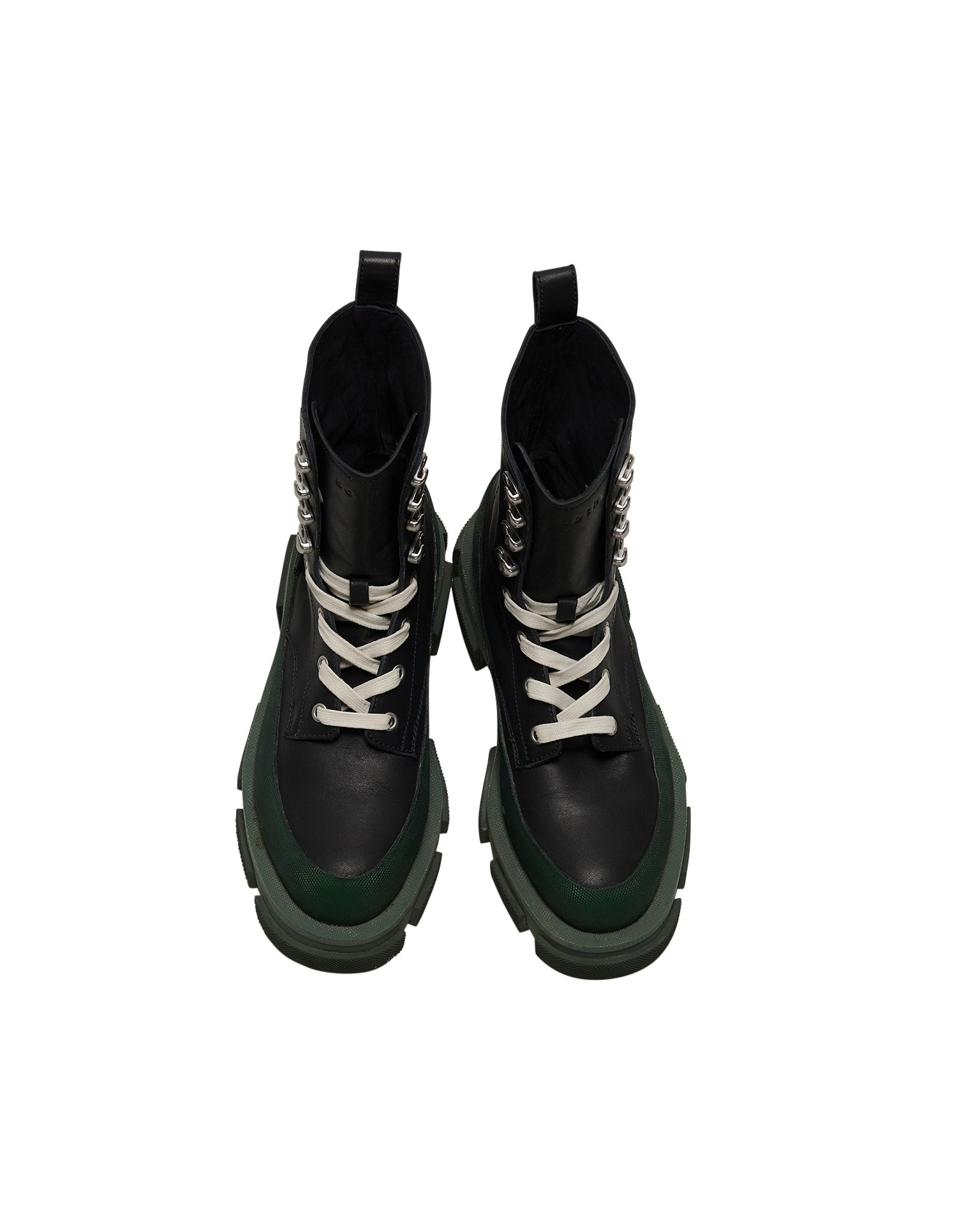 Both x MONSE Gao High Boots in Black and Olive Aerial View