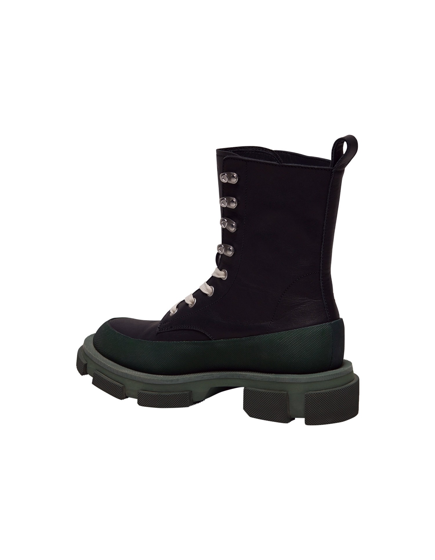Both x MONSE Gao High Boots in Black and Olive Back Right Angle View