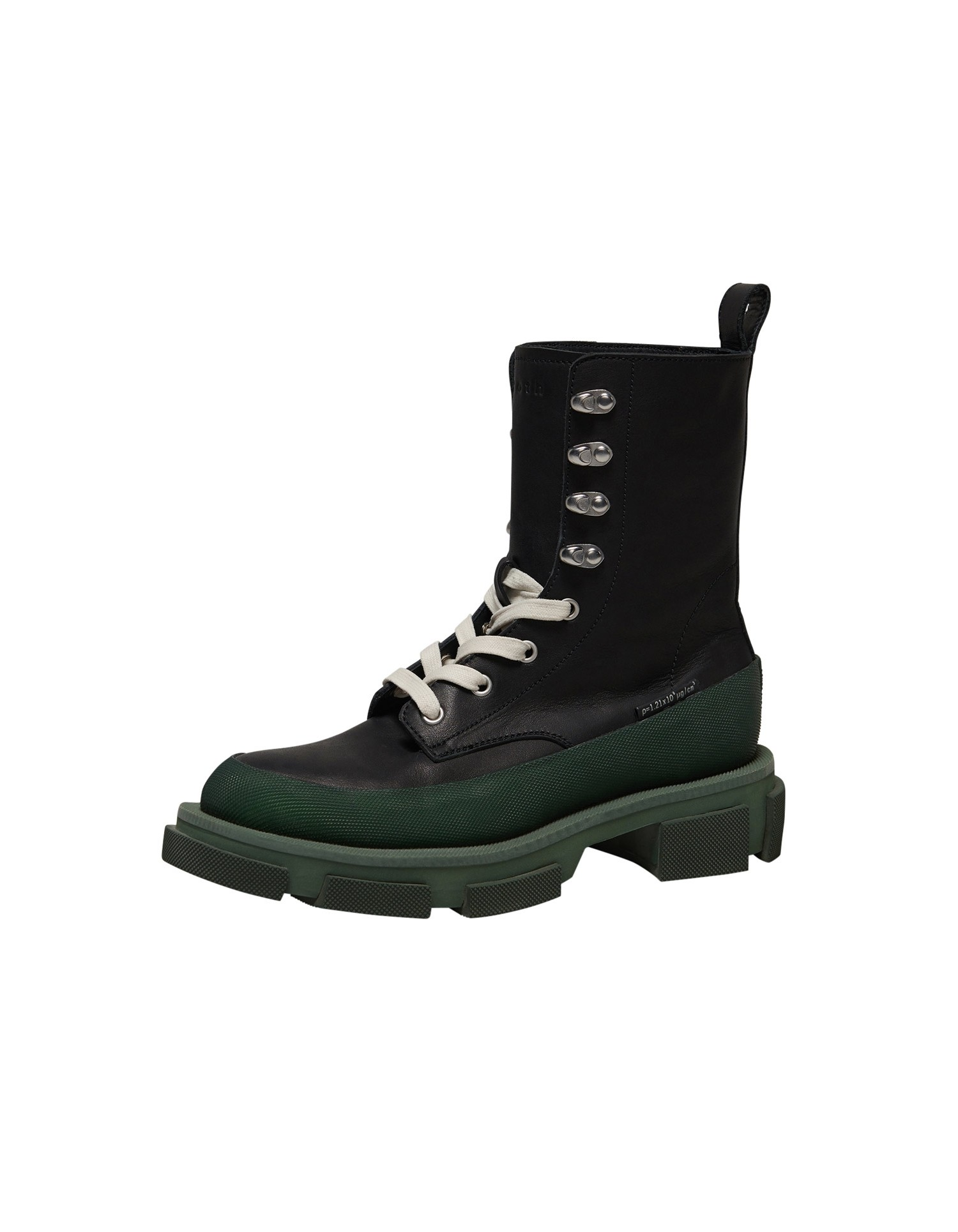 Both x MONSE Gao High Boots in Black and Olive Left Side Angle View
