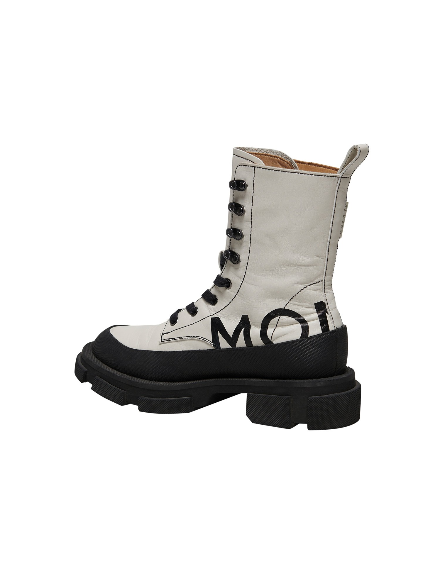 Both x MONSE Gao High Boots in White and Black Left Side View