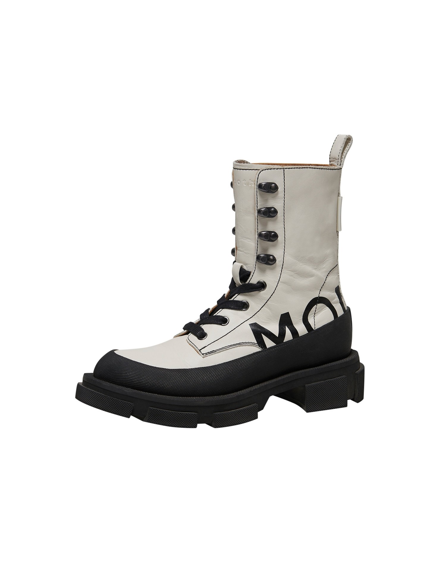 Both x MONSE Gao High Boots in White and Black Left Side Angle View