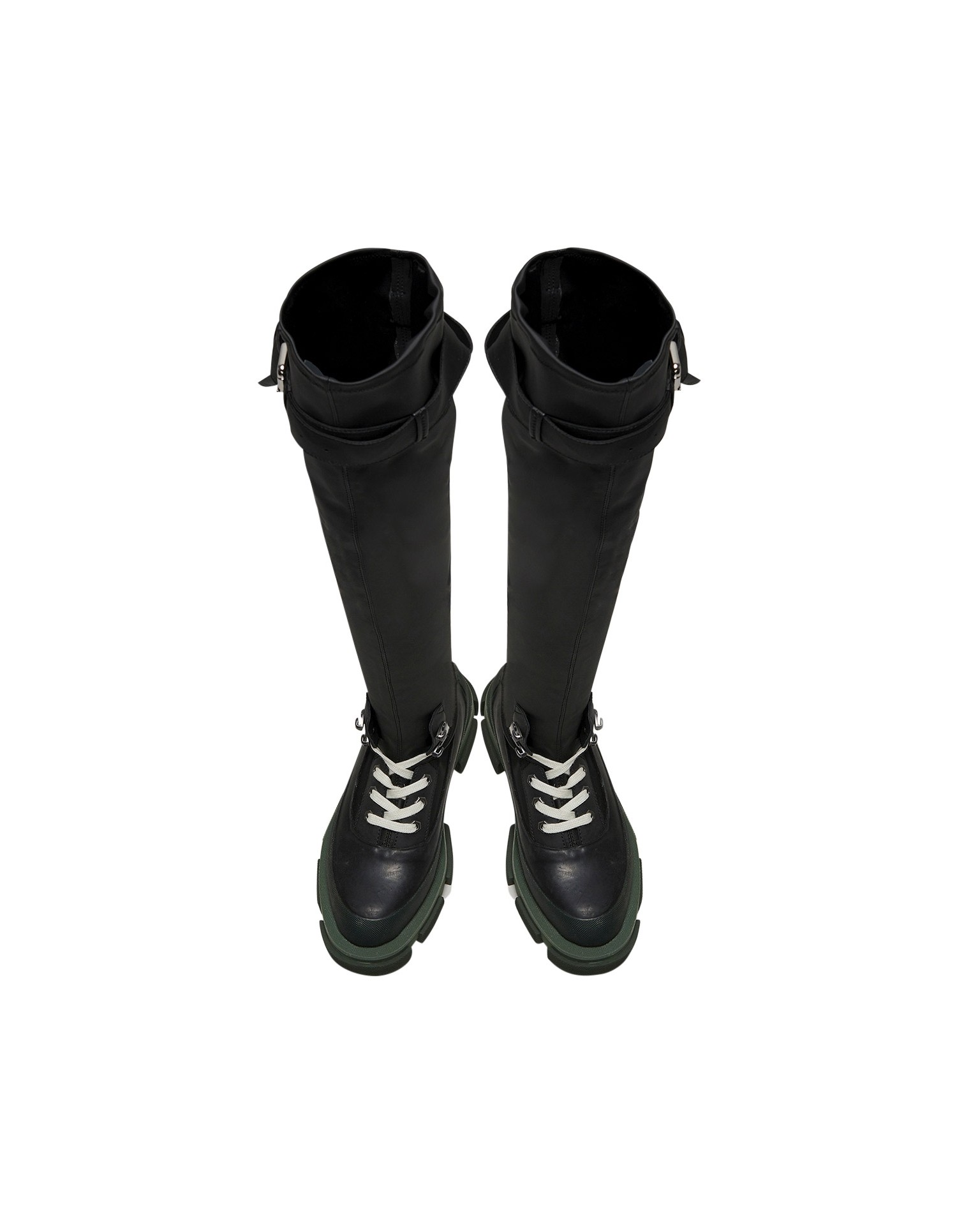 Both x MONSE Gao Thigh High Boots in Olive and Black Aerial View