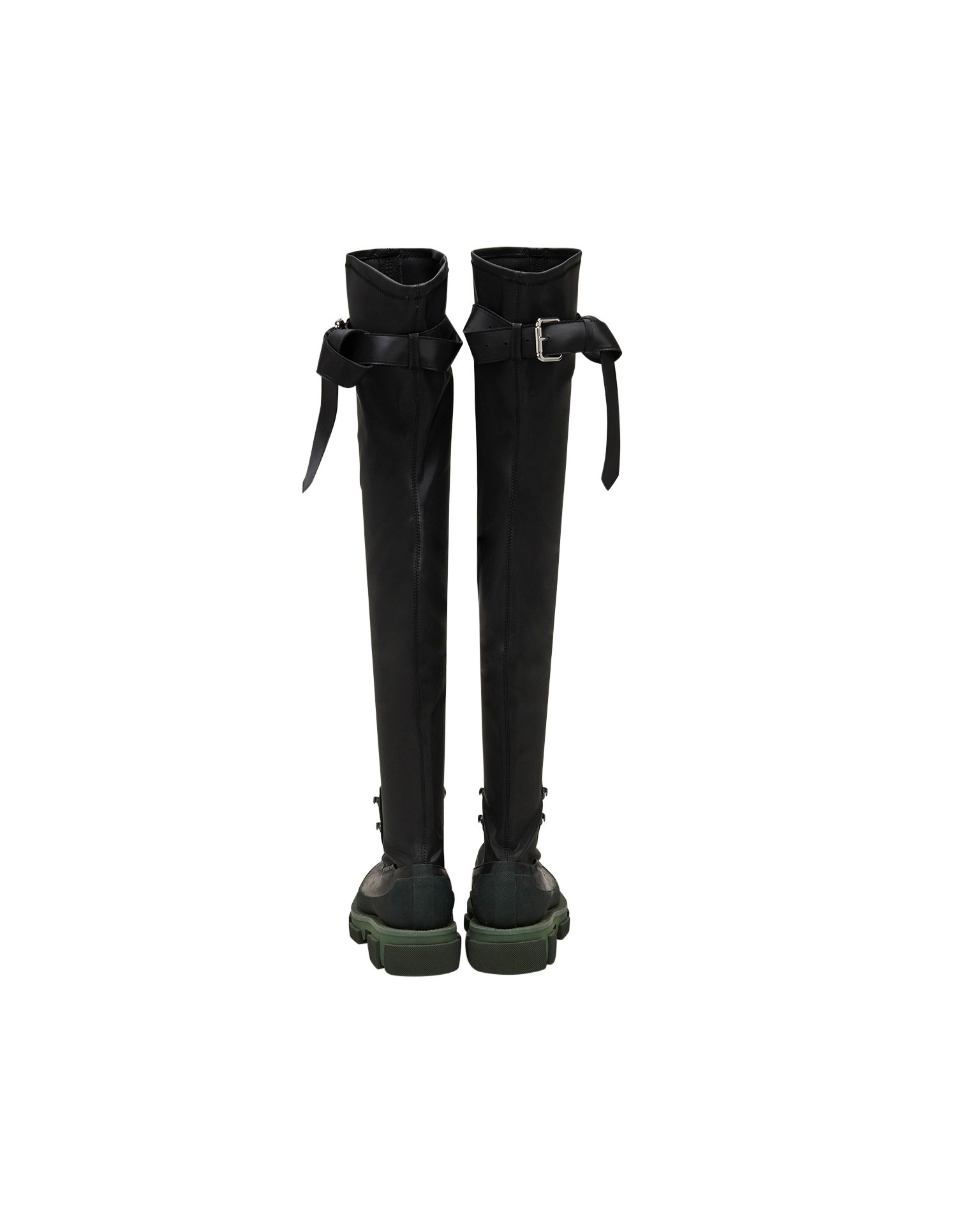 Both x MONSE Gao Thigh High Boots in Olive and Black Back View