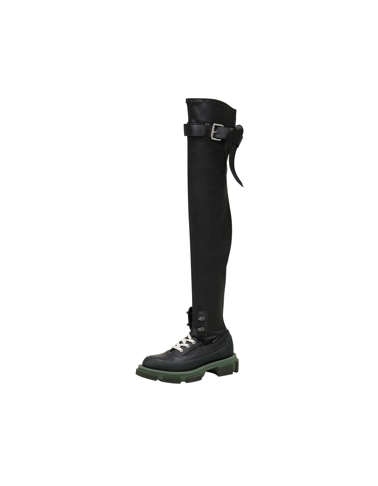 Both x MONSE Gao Thigh High Boots in Olive and Black Left Side Angle View