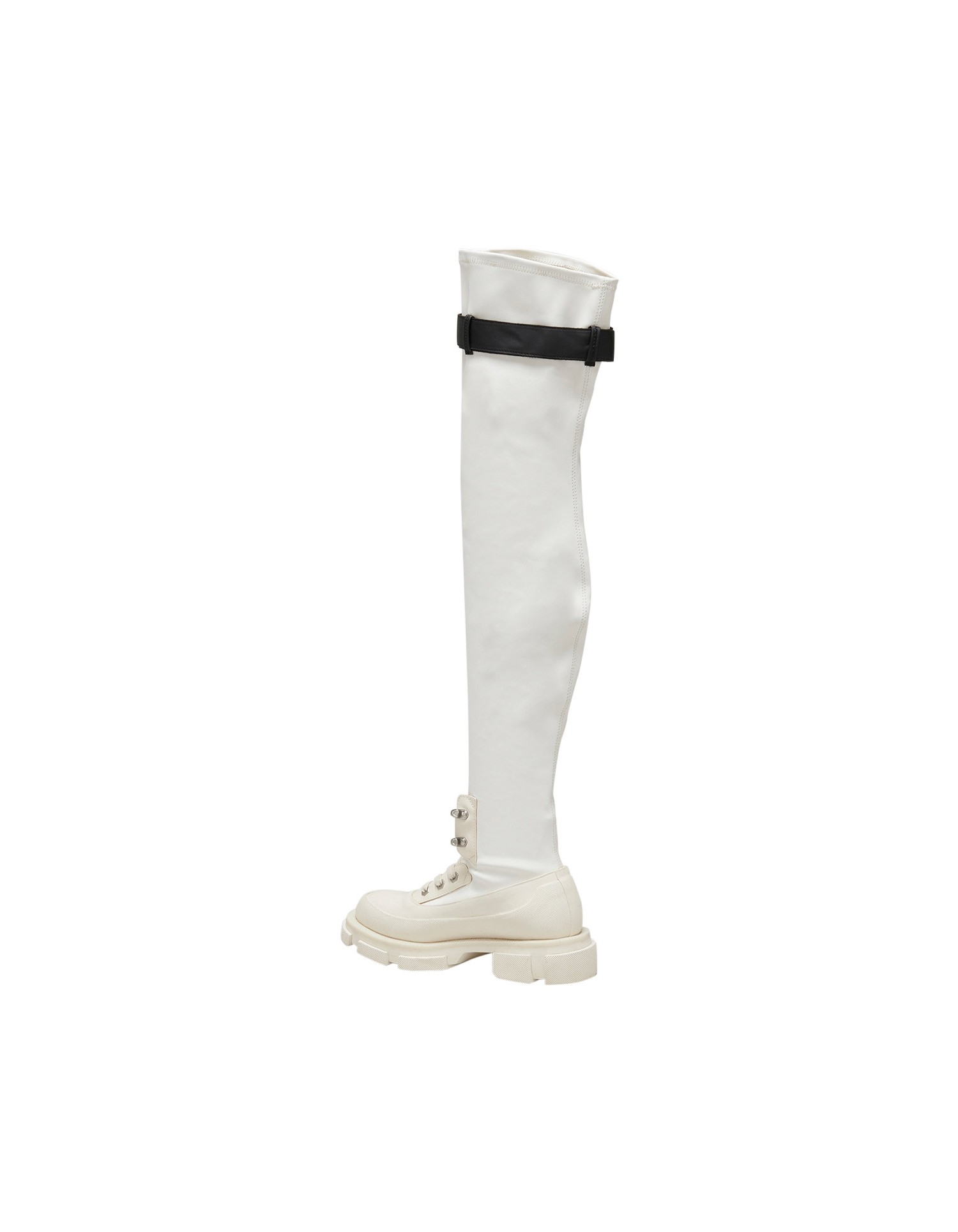 Both x MONSE Gao Thigh High Boots in White and Black Back Left Side Angle View
