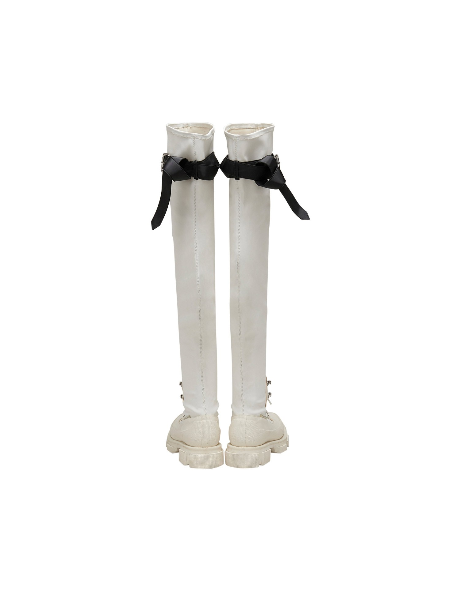 Both x MONSE Gao Thigh High Boots in White and Black Back View
